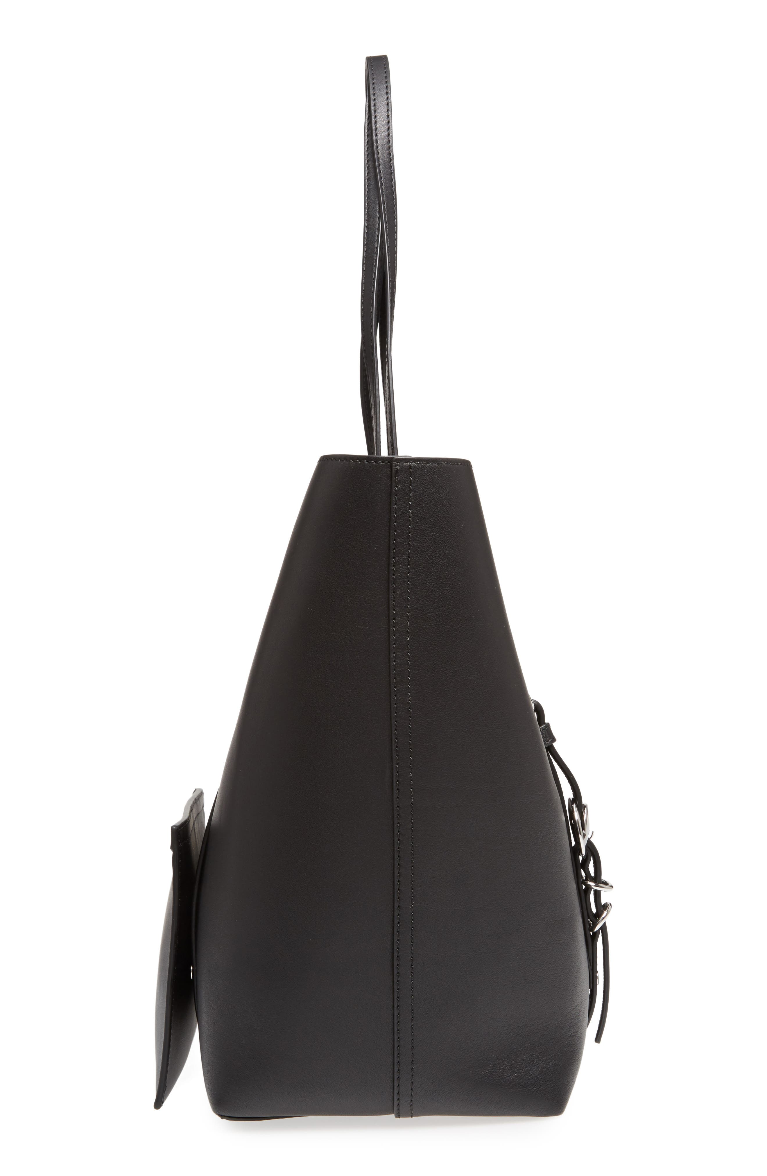 Ace Leather Tote,                             Alternate thumbnail 5, color,                             BLACK