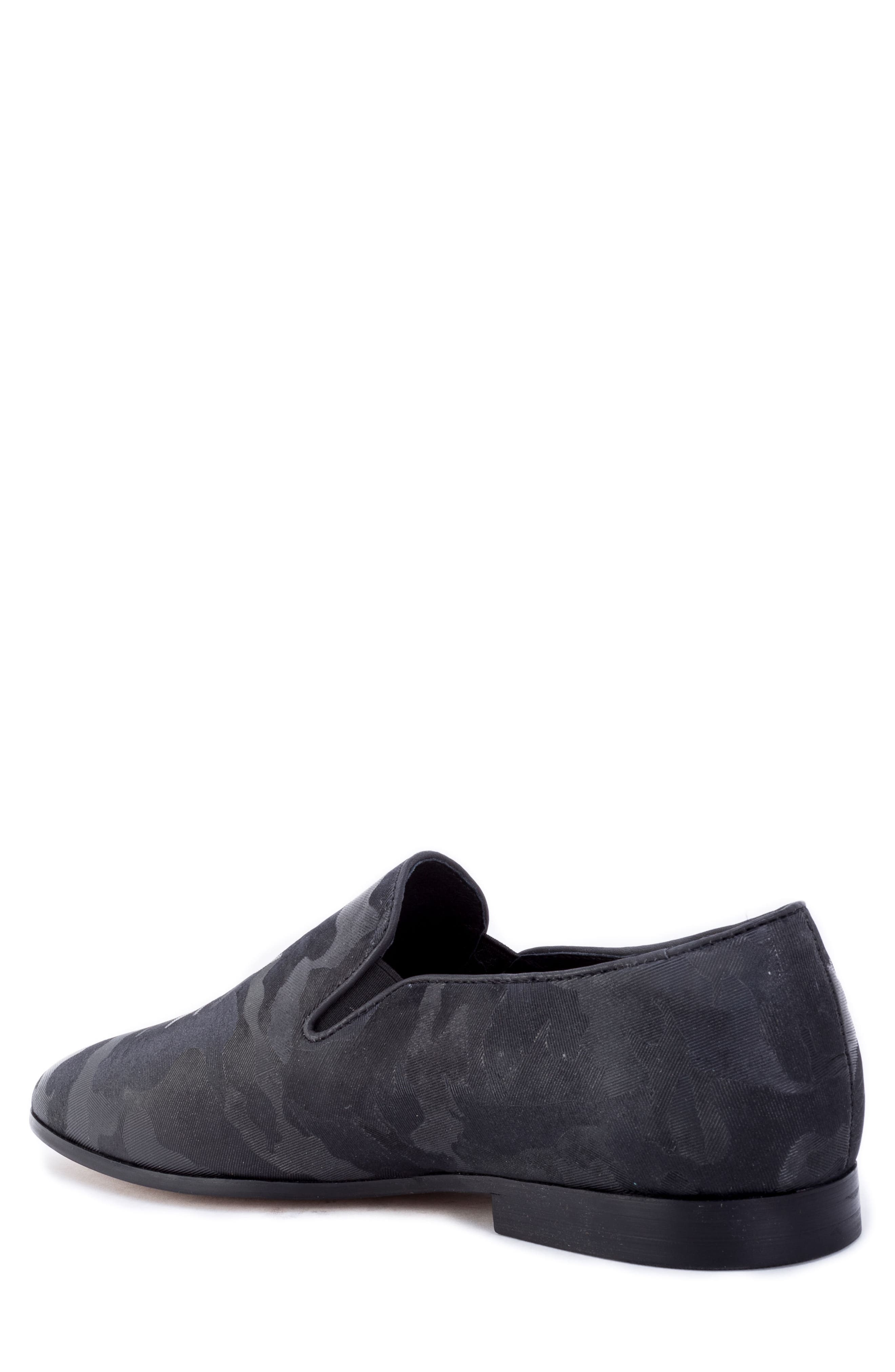 Fry Camouflage Venetian Loafer,                             Alternate thumbnail 2, color,                             BLACK FABRIC