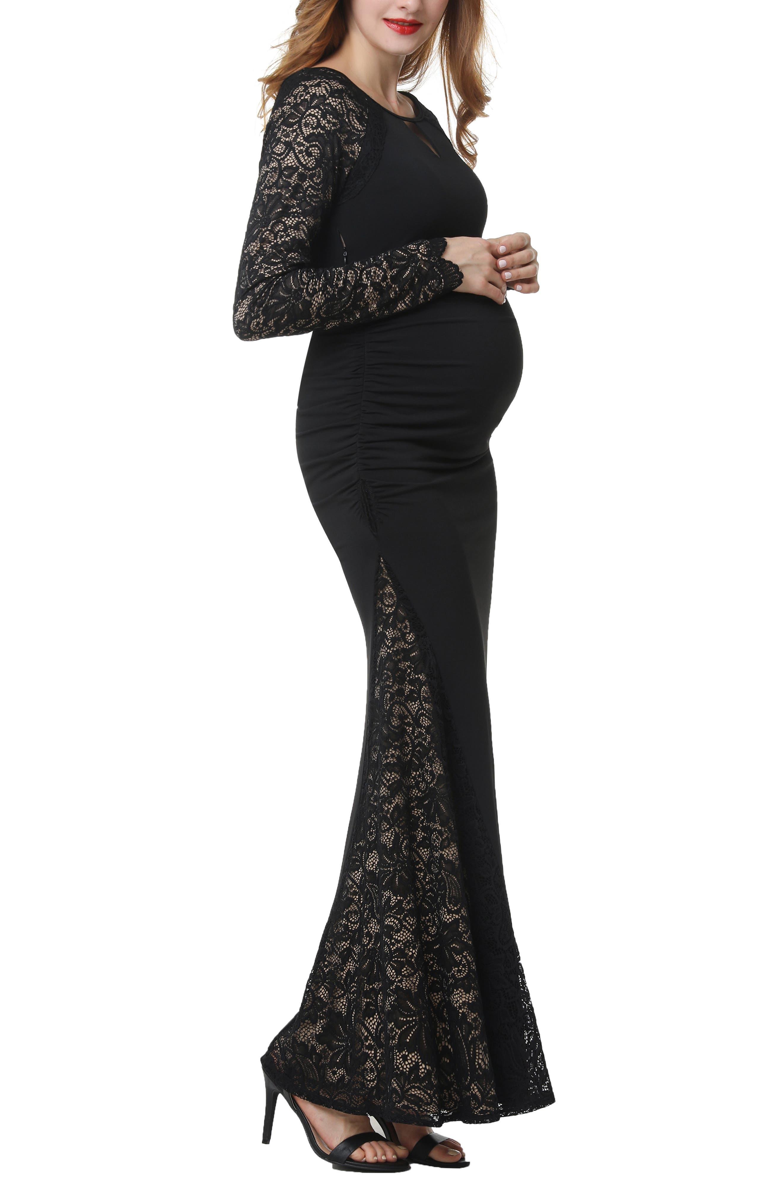 Bella Maternity Maxi Dress,                             Alternate thumbnail 3, color,                             BLACK