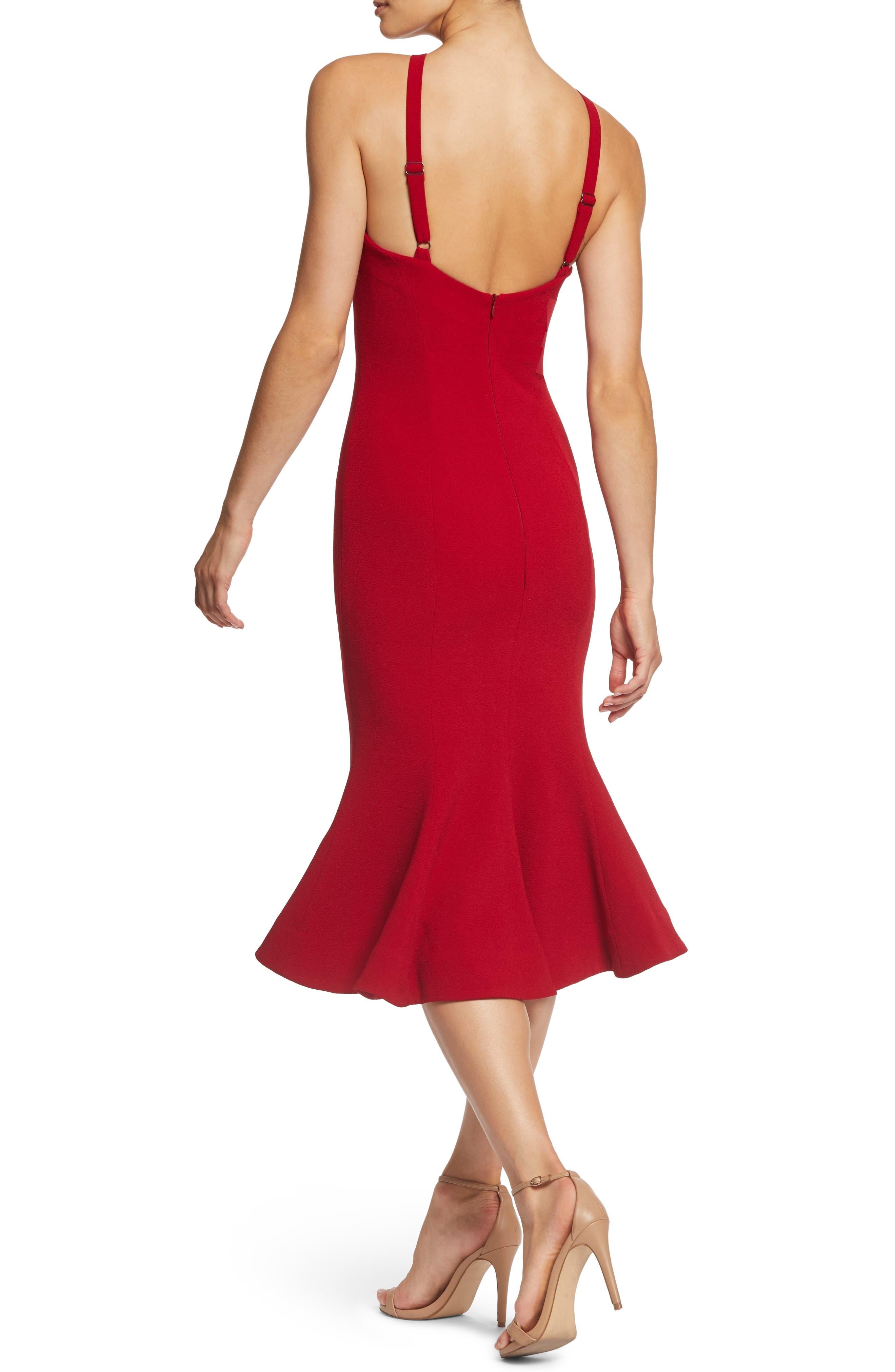 Tessa Crepe Mermaid Dress,                             Alternate thumbnail 2, color,                             GARNET