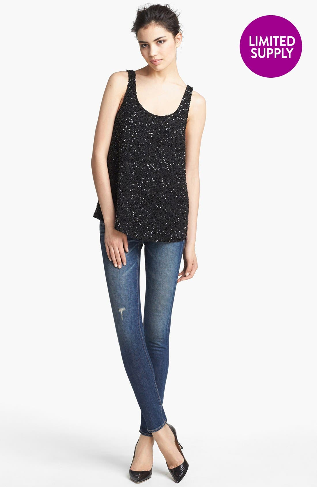 'Junk' Sequin Tank,                             Main thumbnail 1, color,                             001