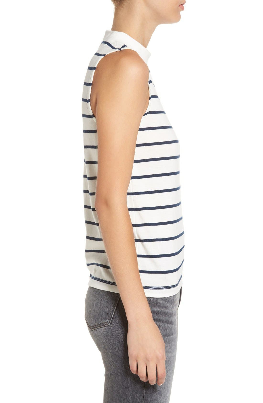 'Ardelle' Stripe Mock Neck Tank,                             Alternate thumbnail 3, color,                             907