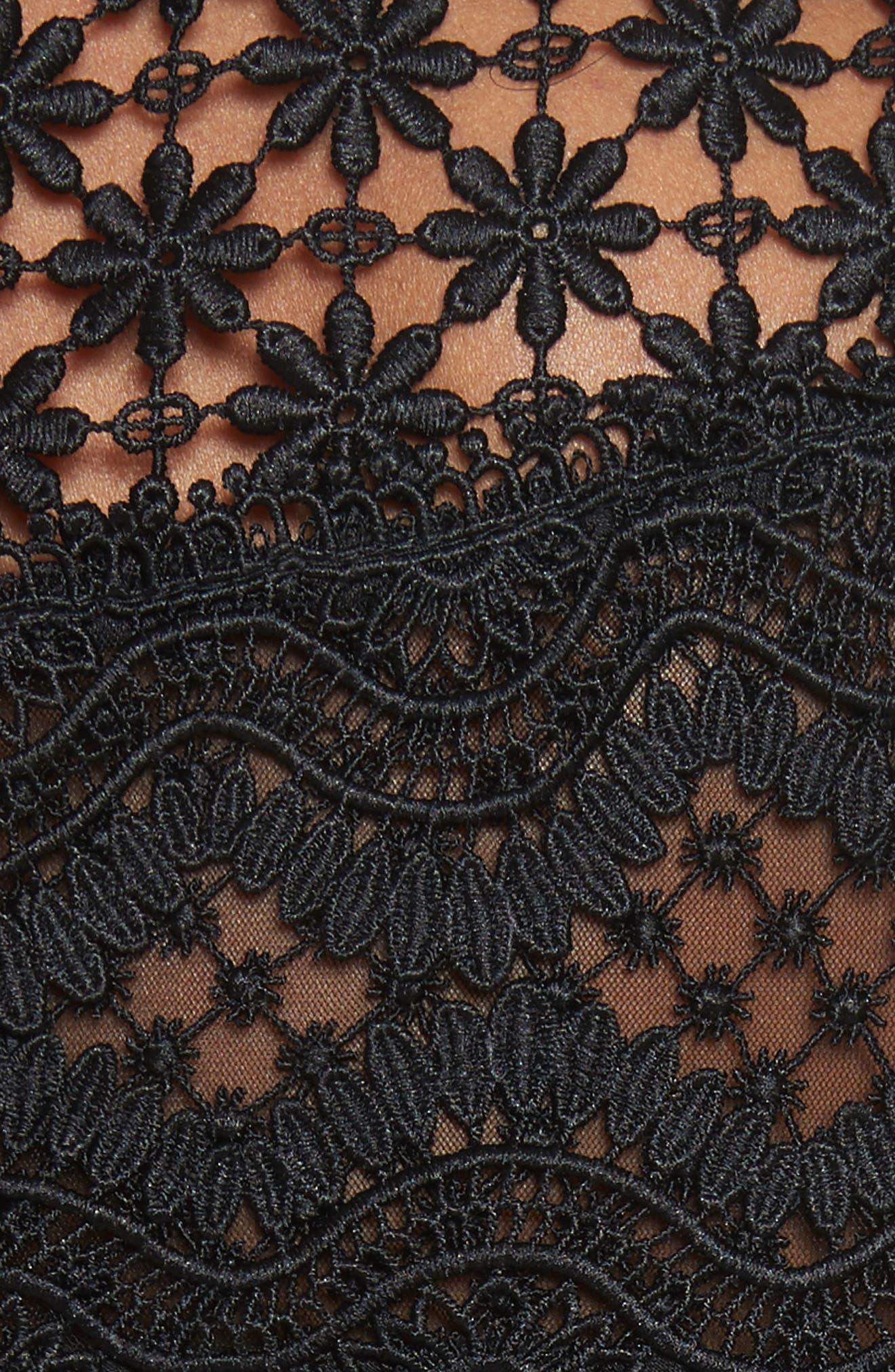 Bellis Lace Fit & Flare Dress,                             Alternate thumbnail 5, color,                             001