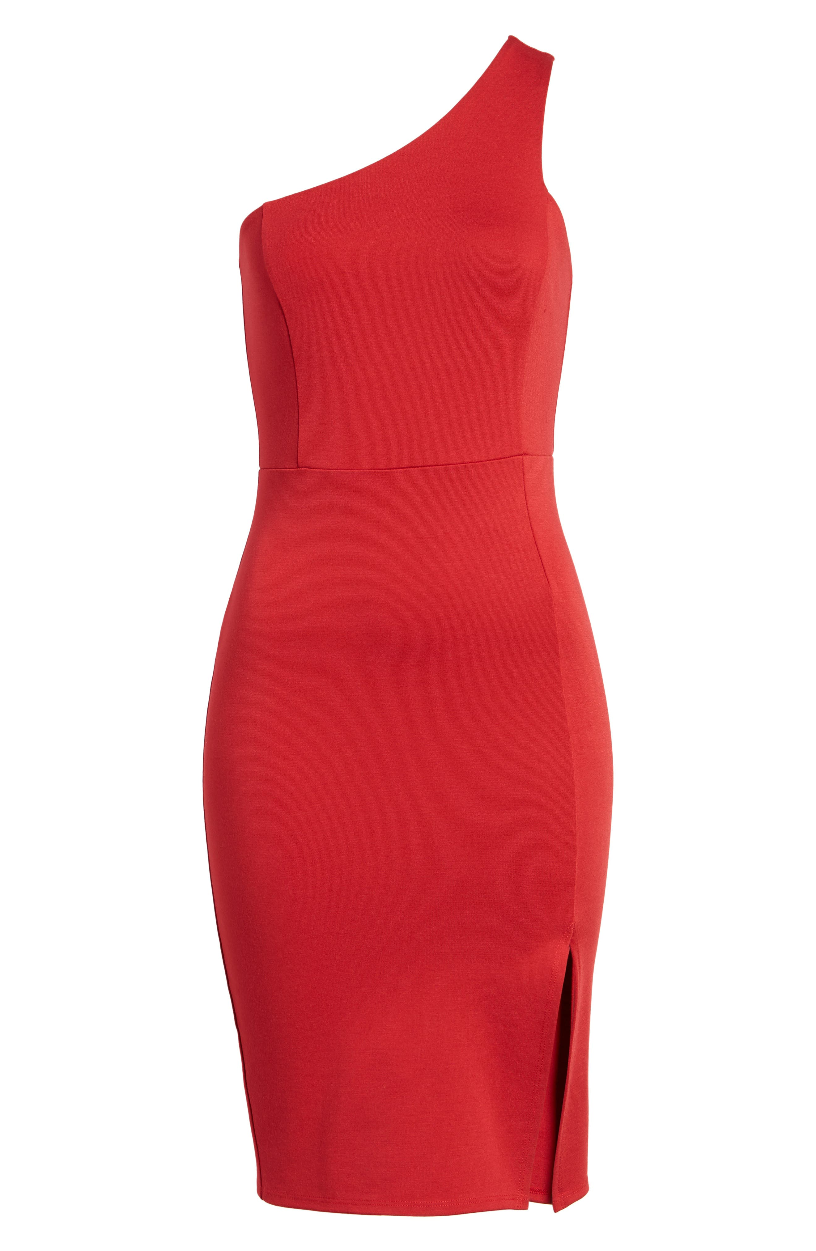 One-Shoulder Body-Con Dress,                             Alternate thumbnail 18, color,