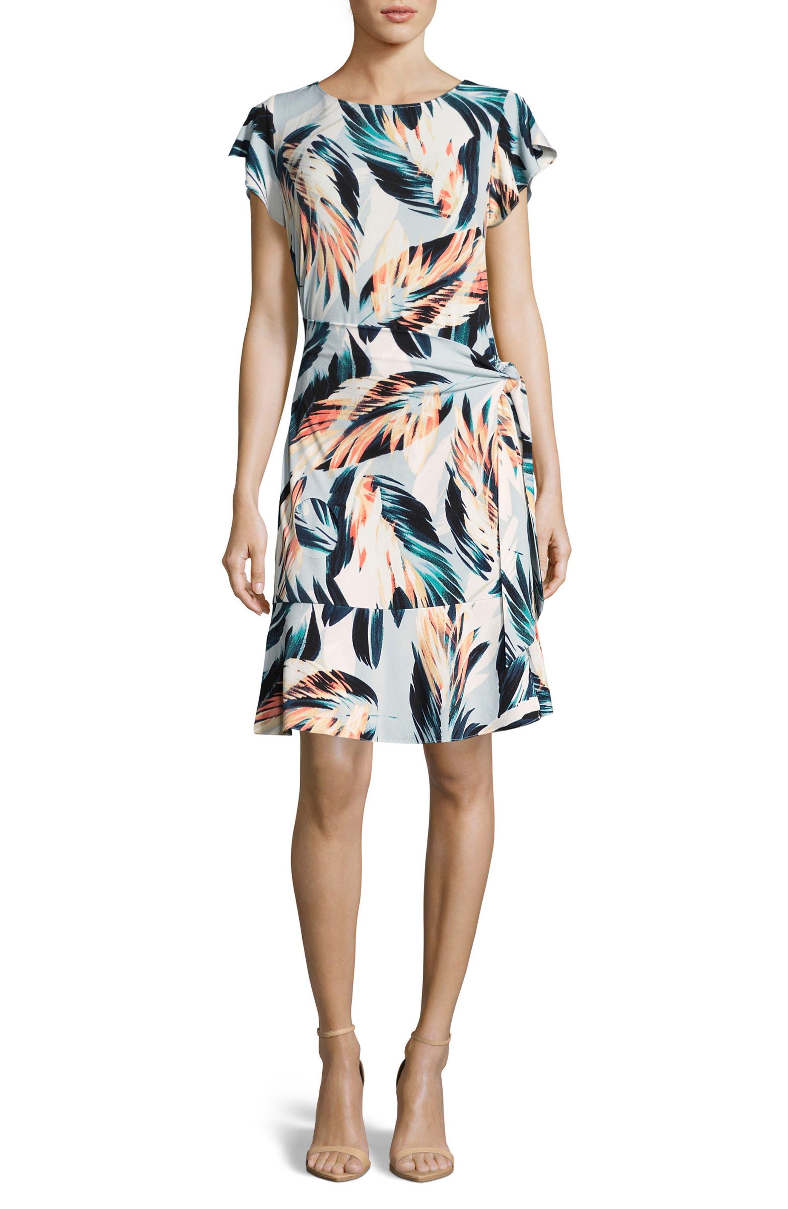 Eci Side Tie Print Dress, Beige
