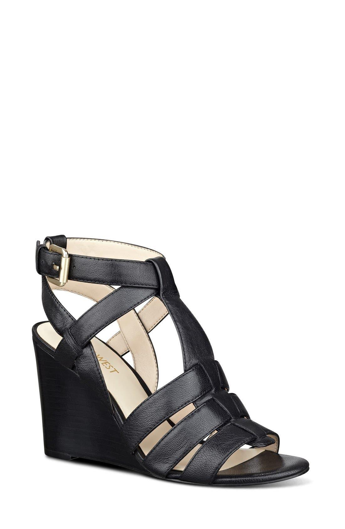 'Farfalla' Wedge Sandal, Main, color, 001
