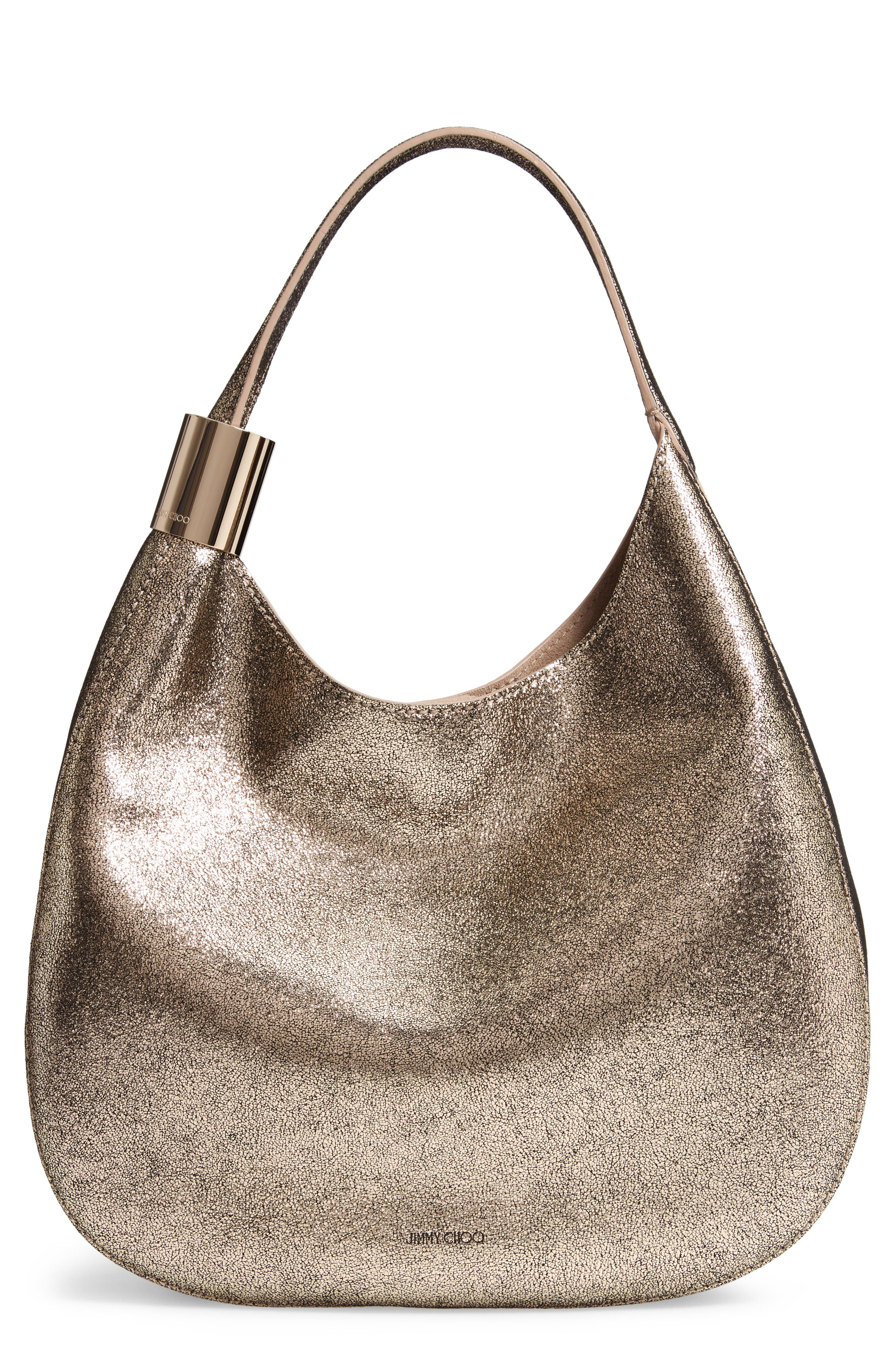 Steve Metallic Leather Hobo, Main, color, CHAMPAGNE