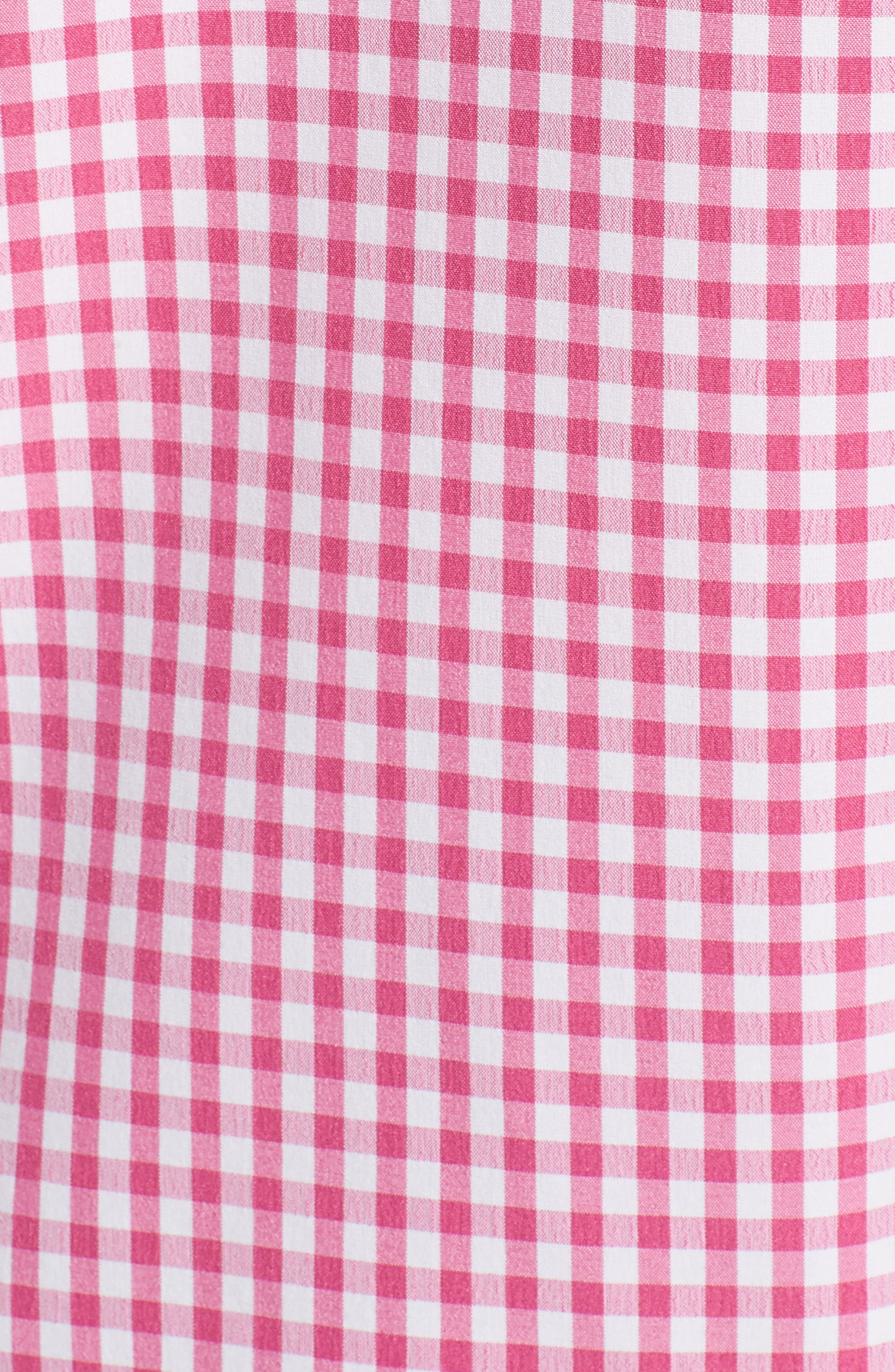 Classic Fit Gingham Performance Sport Shirt,                             Alternate thumbnail 5, color,                             PINK