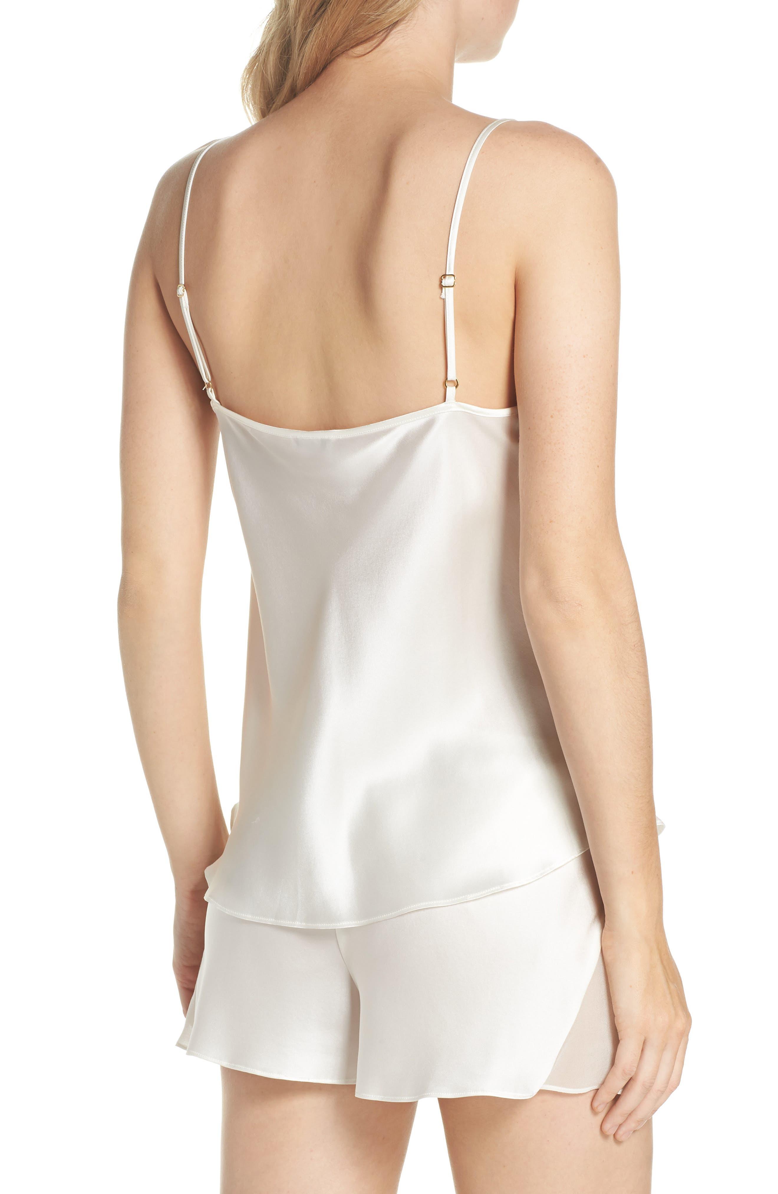 Lace Trim Short Silk Pajamas,                             Alternate thumbnail 2, color,                             100