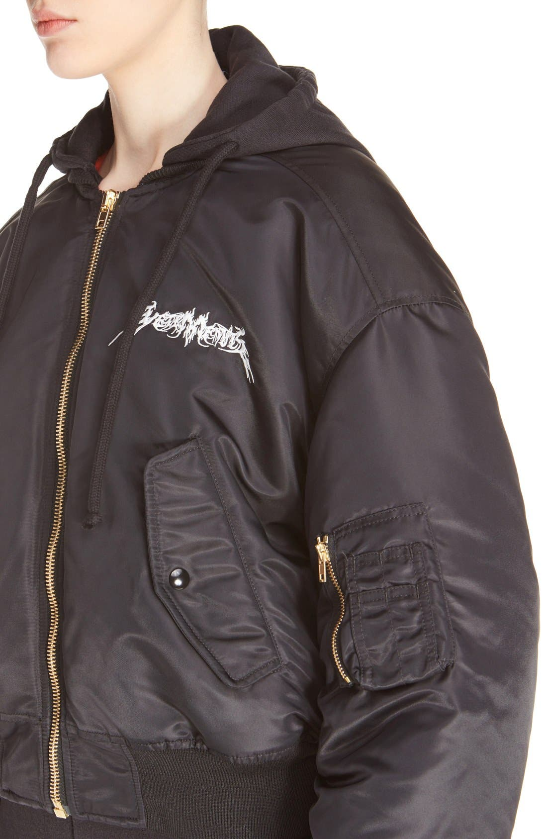 Embroidered Bomber Jacket,                             Alternate thumbnail 2, color,                             001