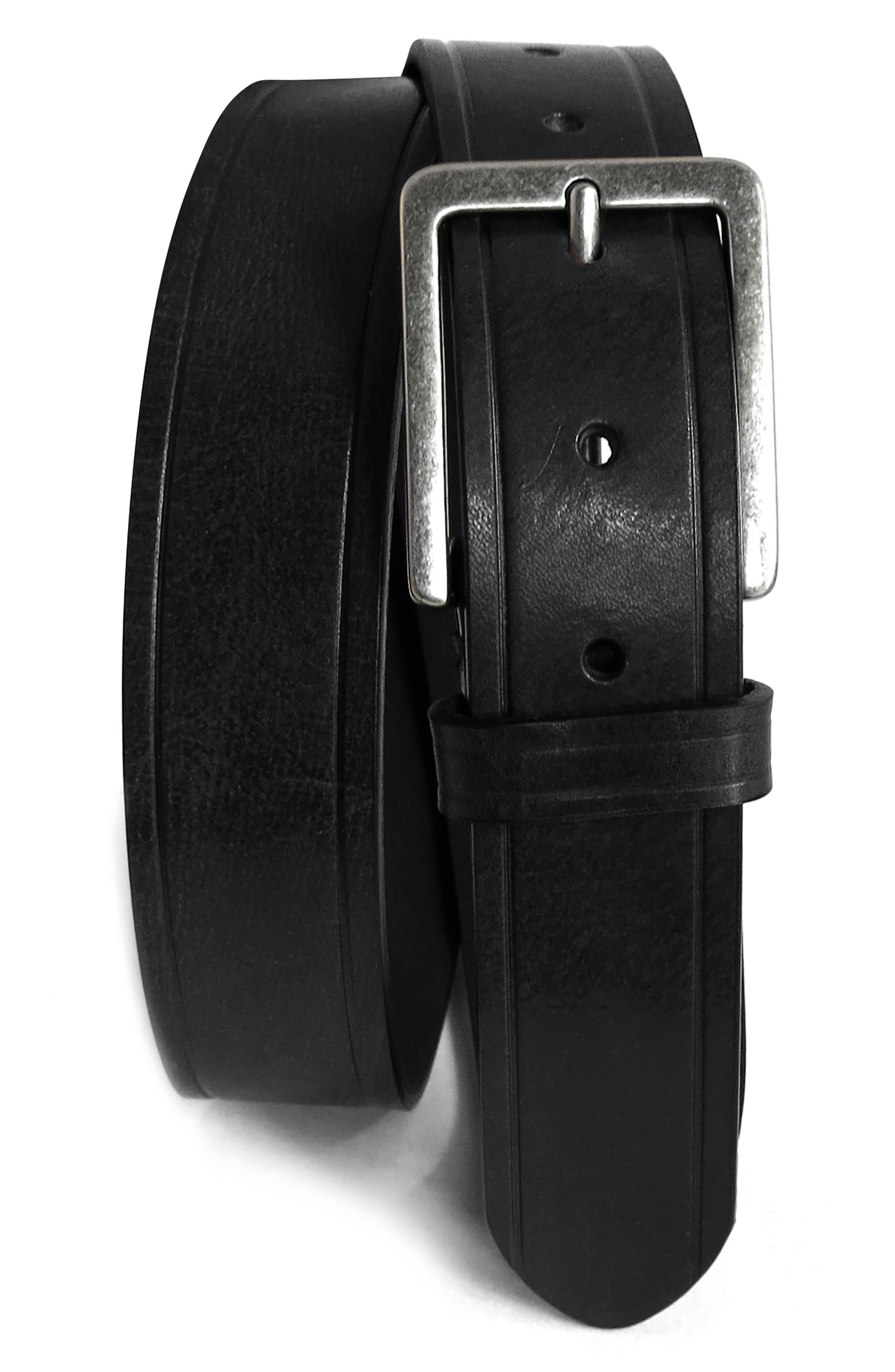 BOCONI Embossed Leather Belt, Main, color, BLACK
