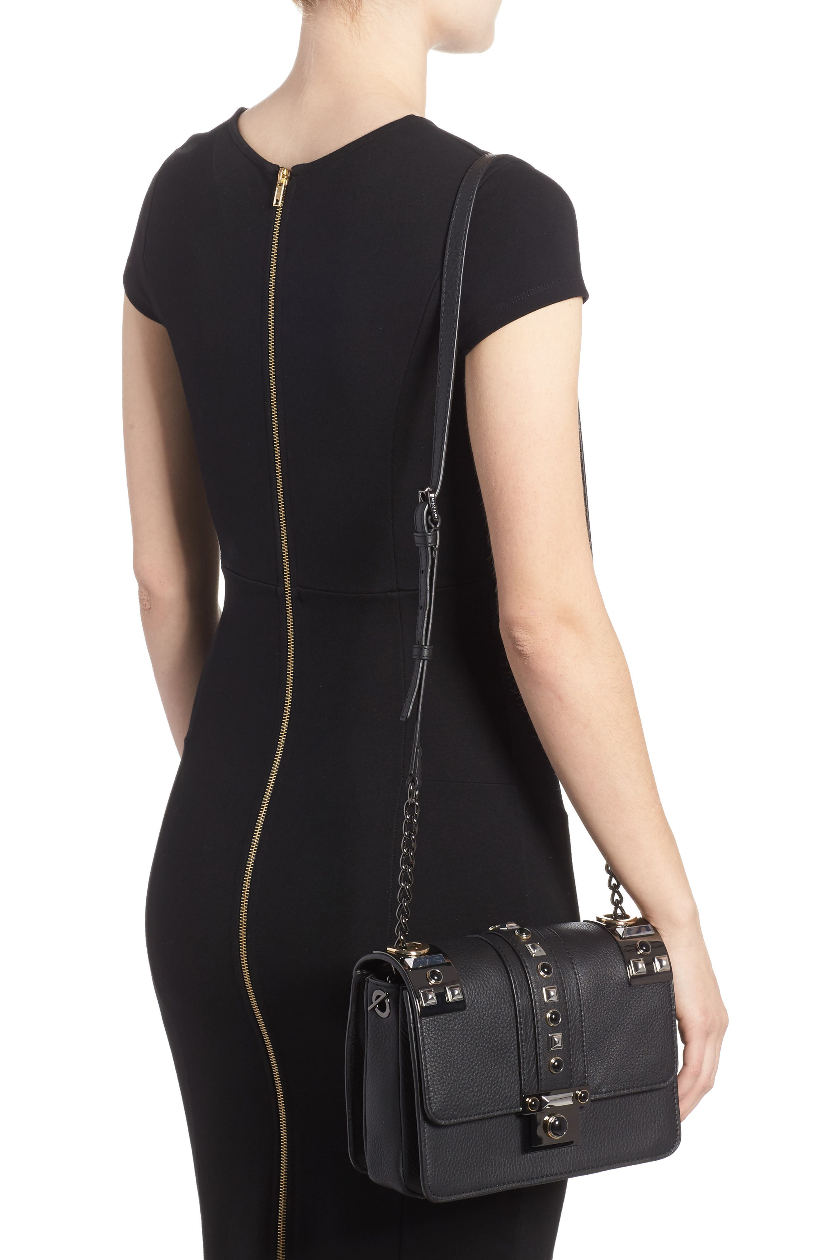 Bitty Studded Leather Shoulder Bag,                             Alternate thumbnail 2, color,                             002