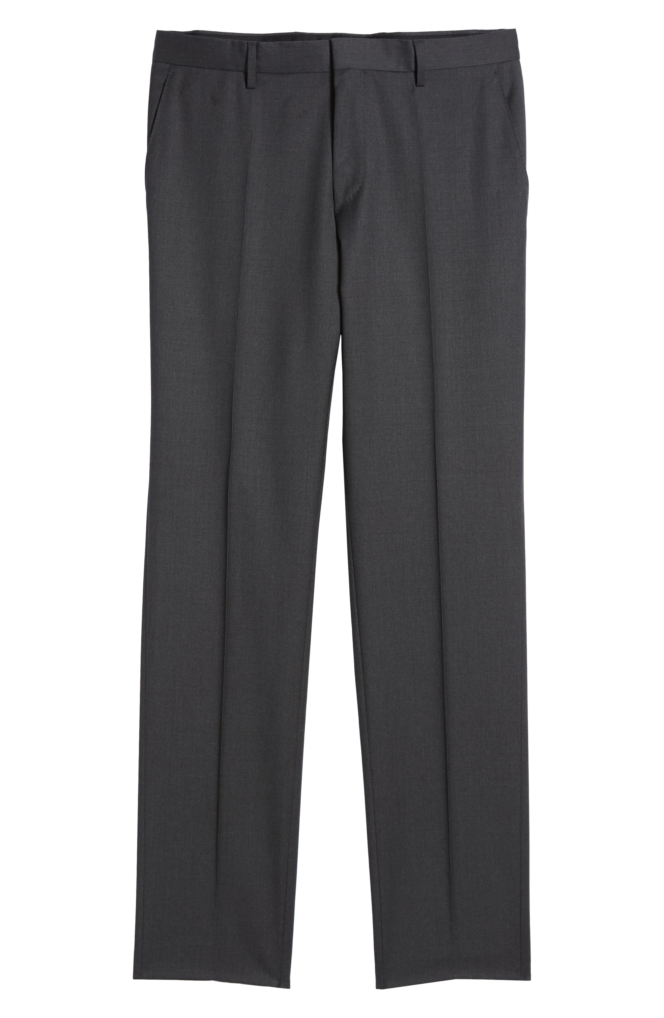Gibson CYL Flat Front Solid Wool Trousers,                             Alternate thumbnail 6, color,                             DARK GREY