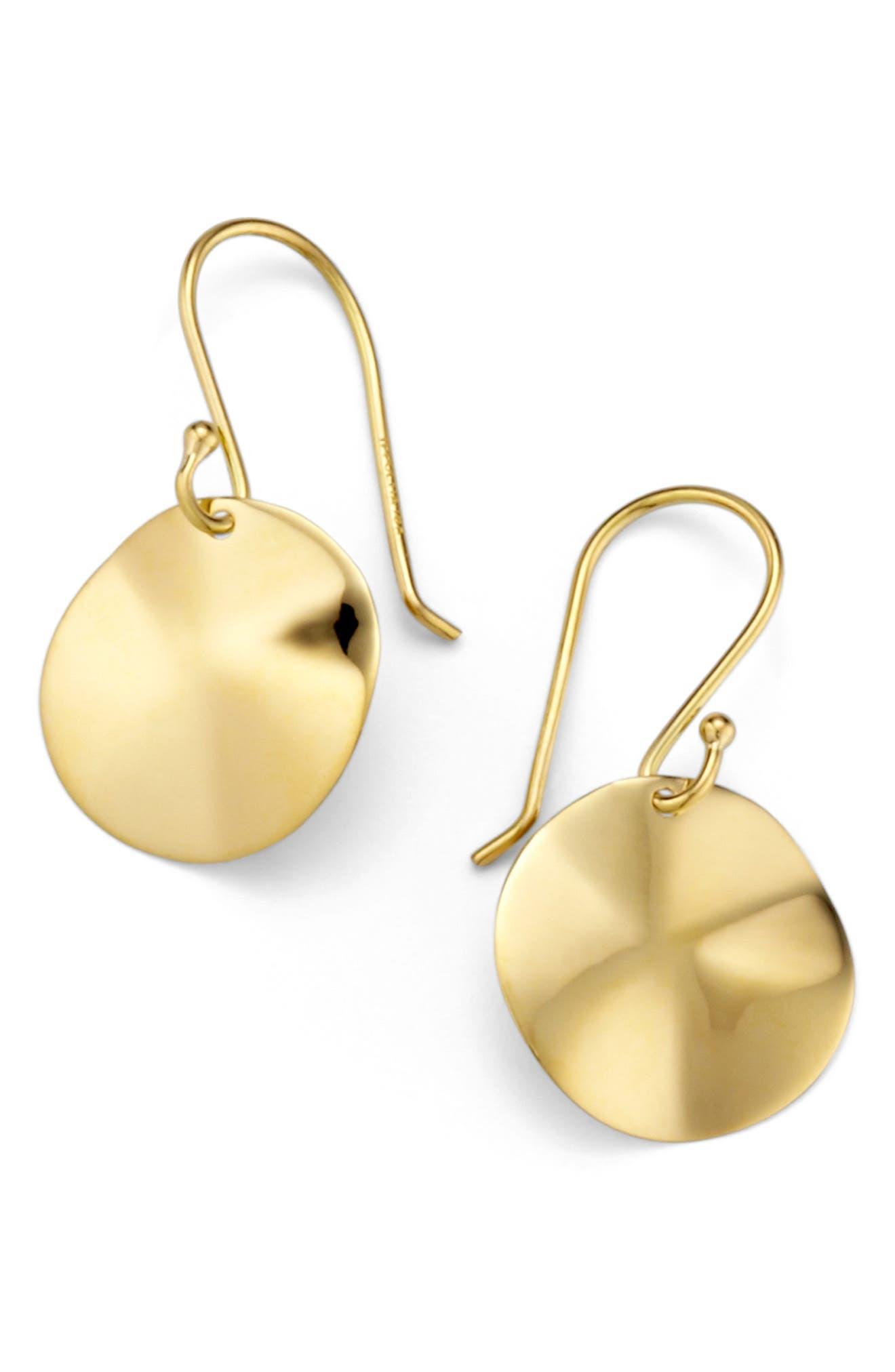 'Plain' Mini Wavy Disc 18k Gold Earrings,                             Main thumbnail 1, color,                             710