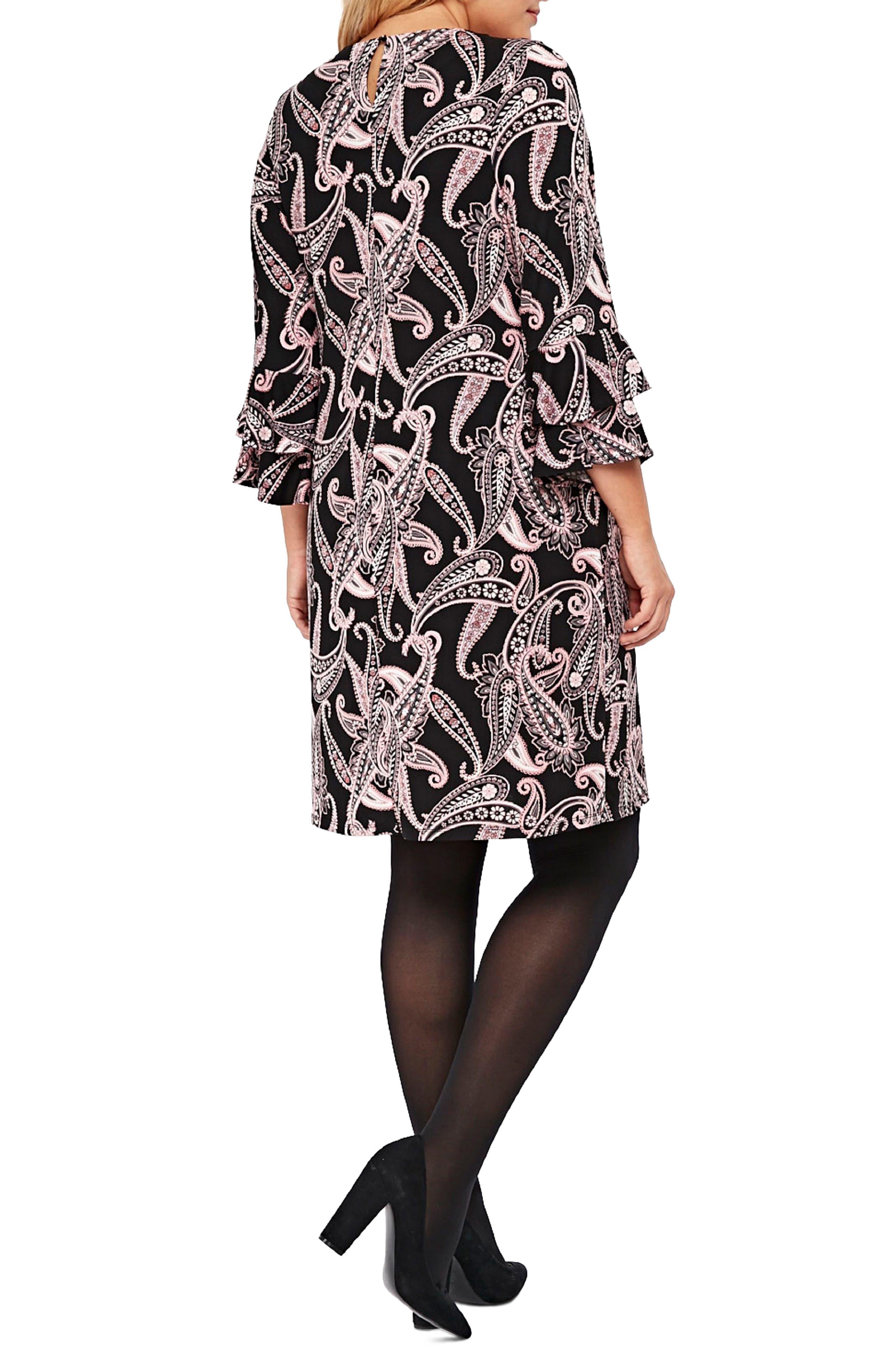 Paisley Fluted Sleeve Dress,                             Alternate thumbnail 2, color,                             001
