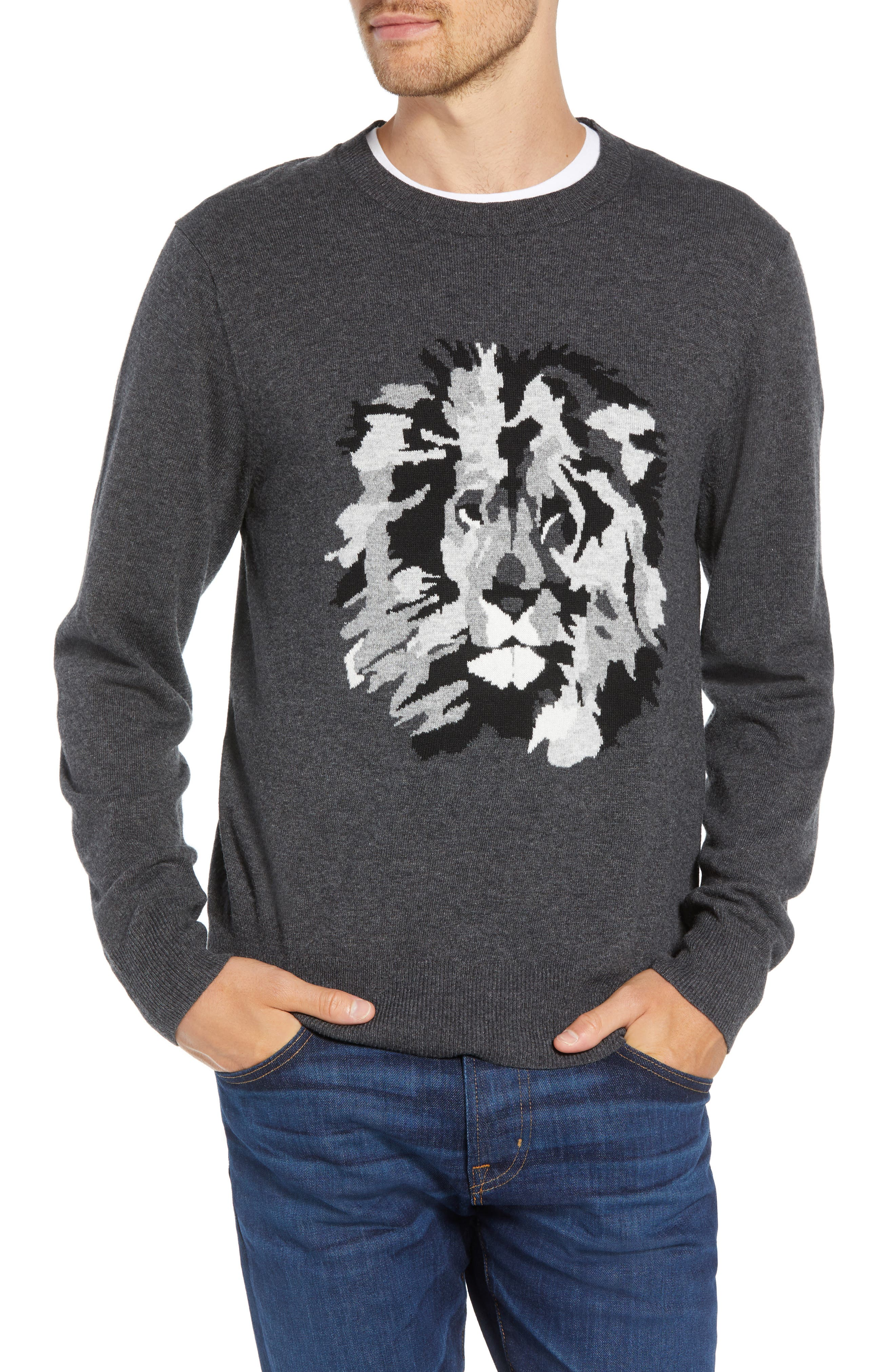 Slim Fit Lion Intarsia Sweater,                         Main,                         color, CHARCOAL HEATHER