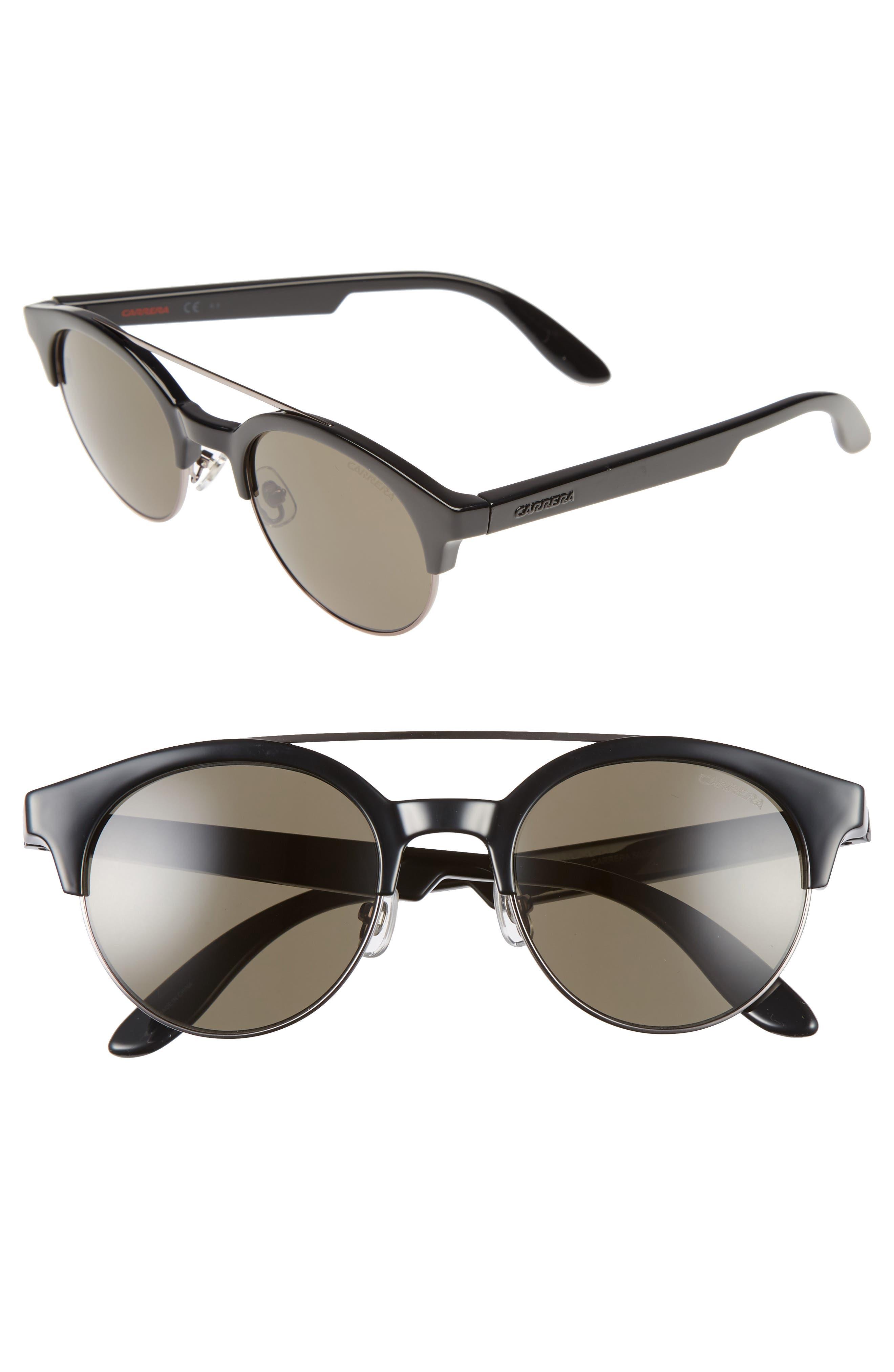 CARRERA EYEWEAR Retro 50mm Sunglasses, Main, color, 001