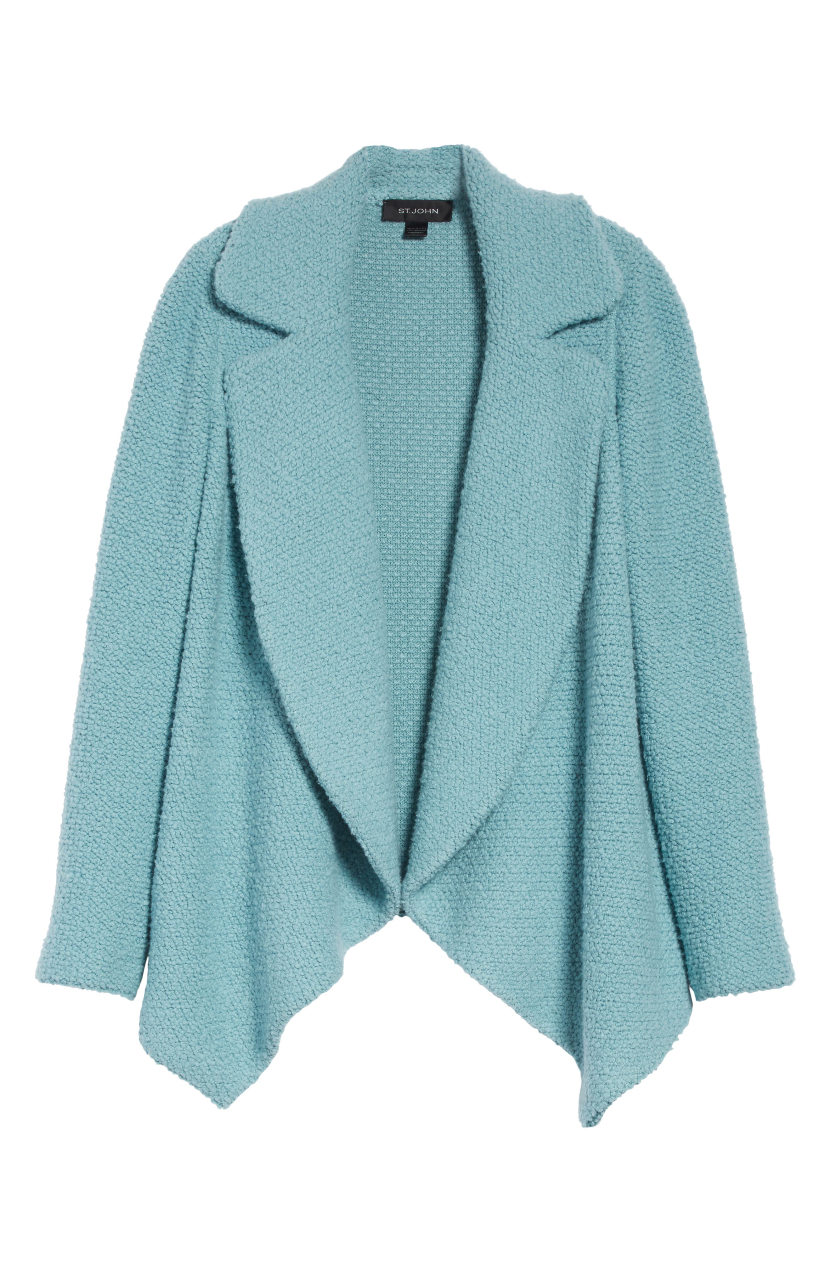 Plush Bouclé Wool & Silk Cardigan,                             Alternate thumbnail 5, color,
