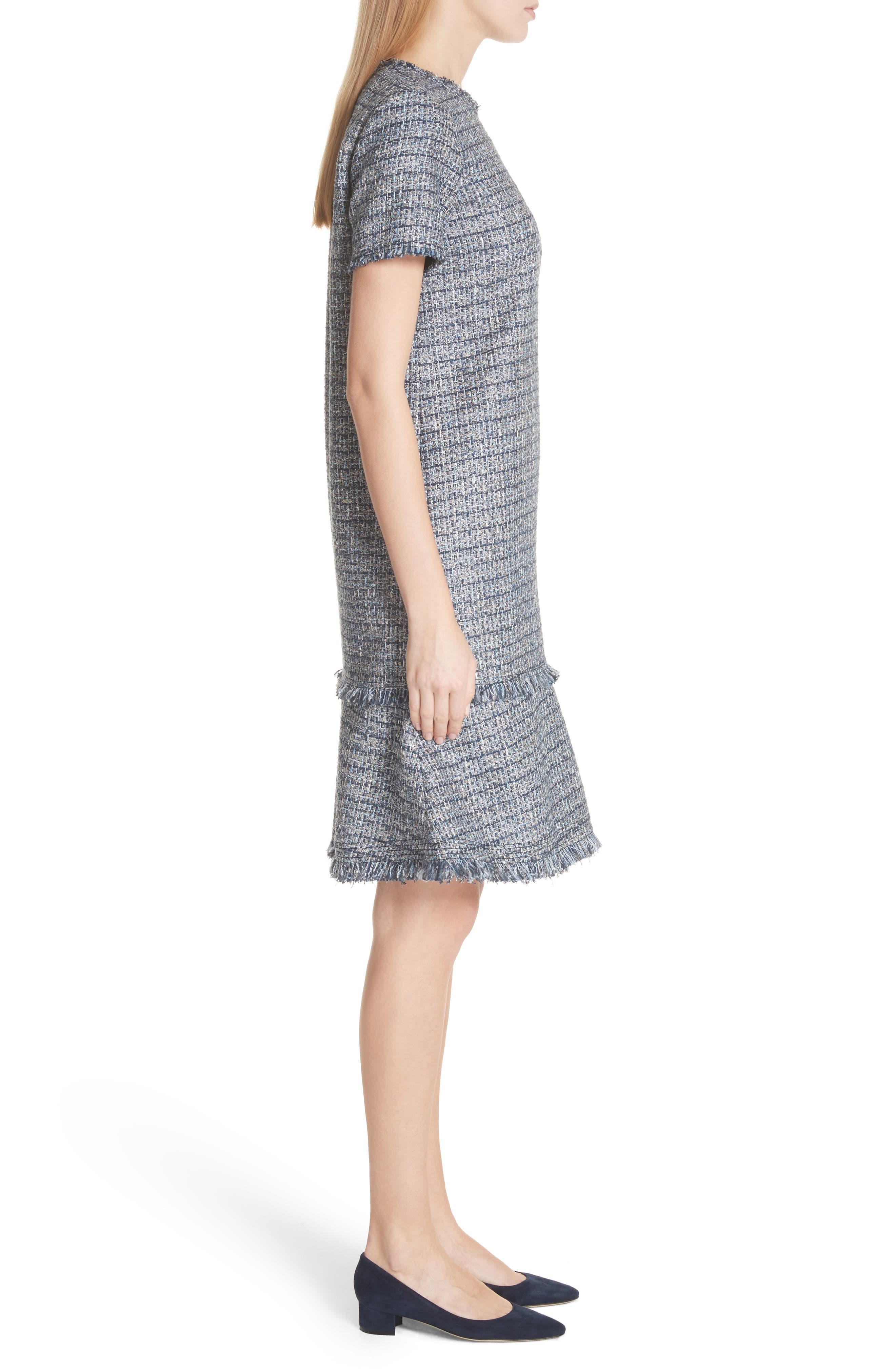 Saria Tweed Drop Waist Dress,                             Alternate thumbnail 3, color,                             412