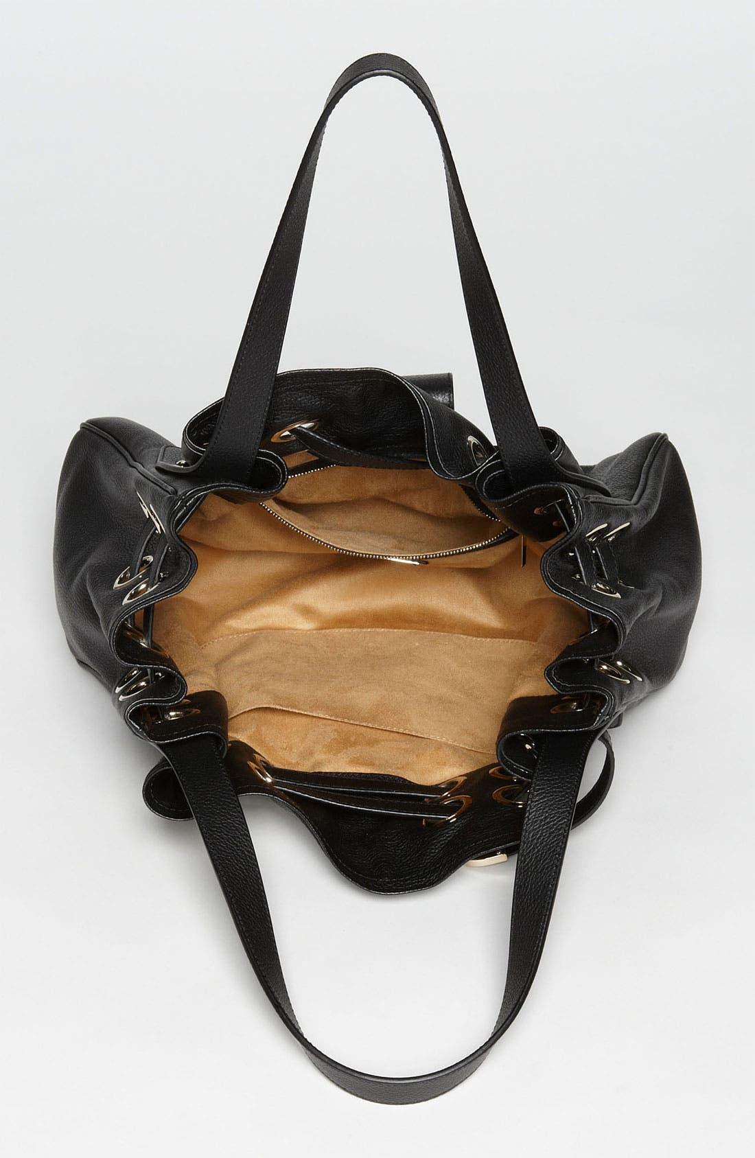 'Ramona' Leather Shopper,                             Alternate thumbnail 3, color,                             001