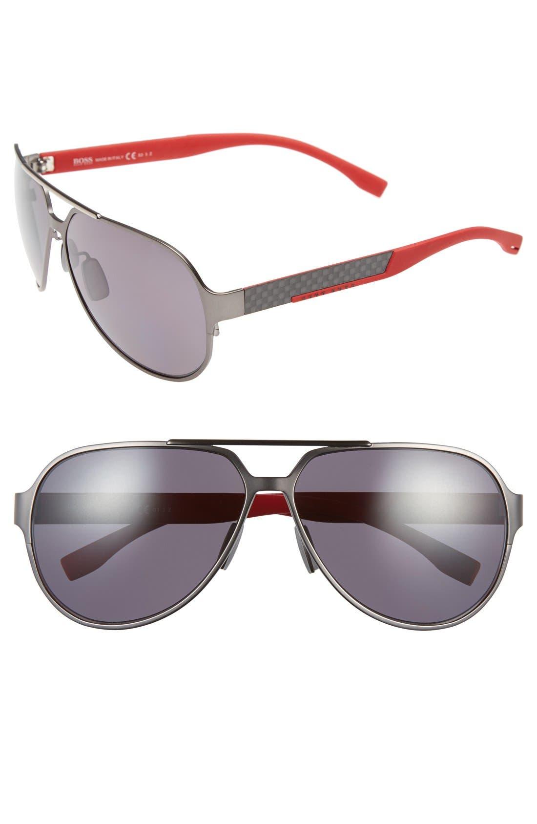 63mm Polarized Aviator Sunglasses,                         Main,                         color, 043