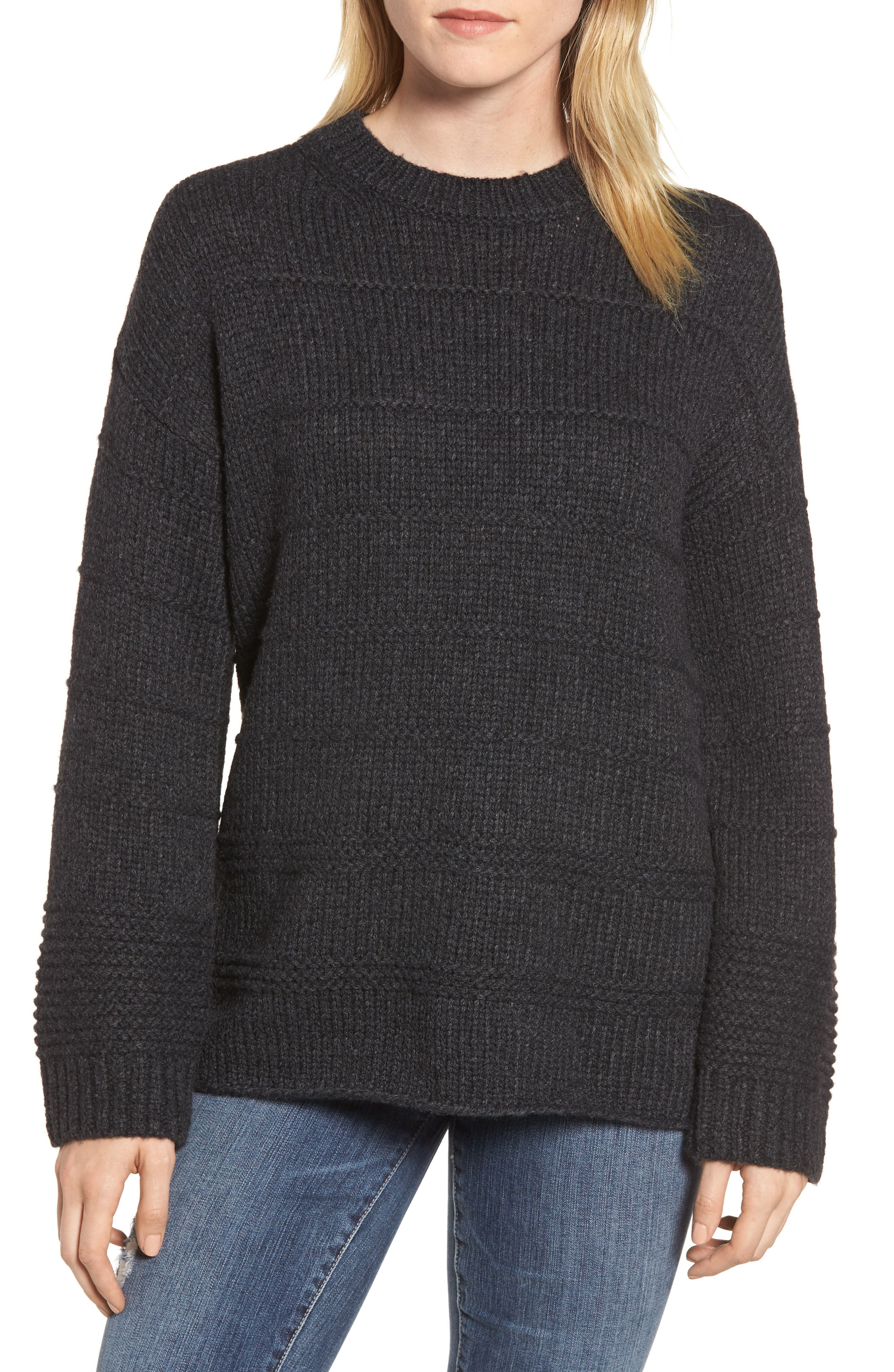 Stripe Stitch Wool Alpaca Blend Sweater,                             Main thumbnail 1, color,                             COAL