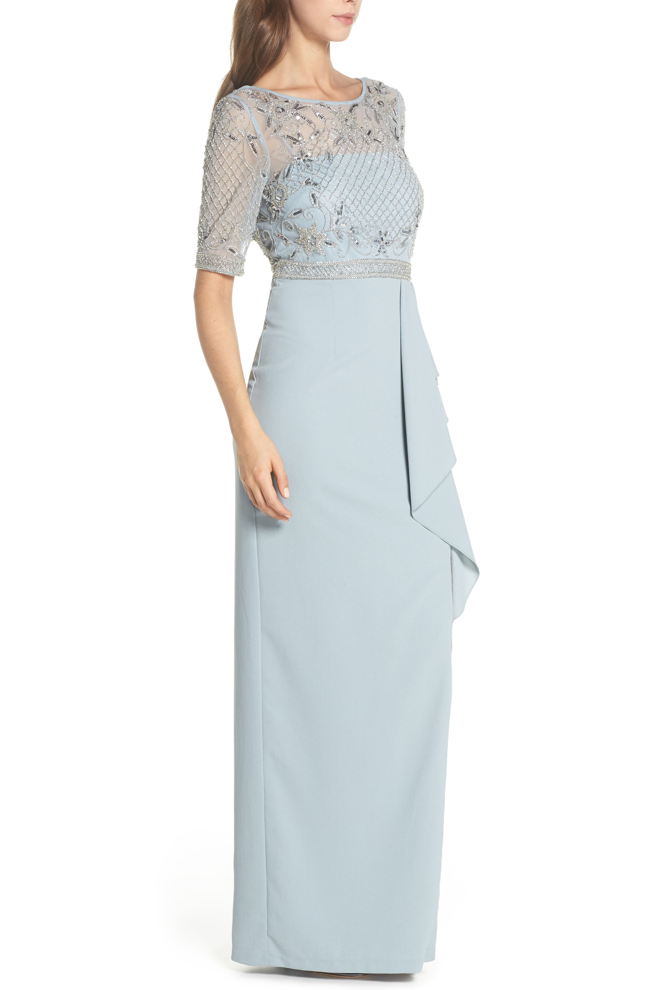 Beaded Gown,                             Alternate thumbnail 3, color,                             BLUE HEATHER