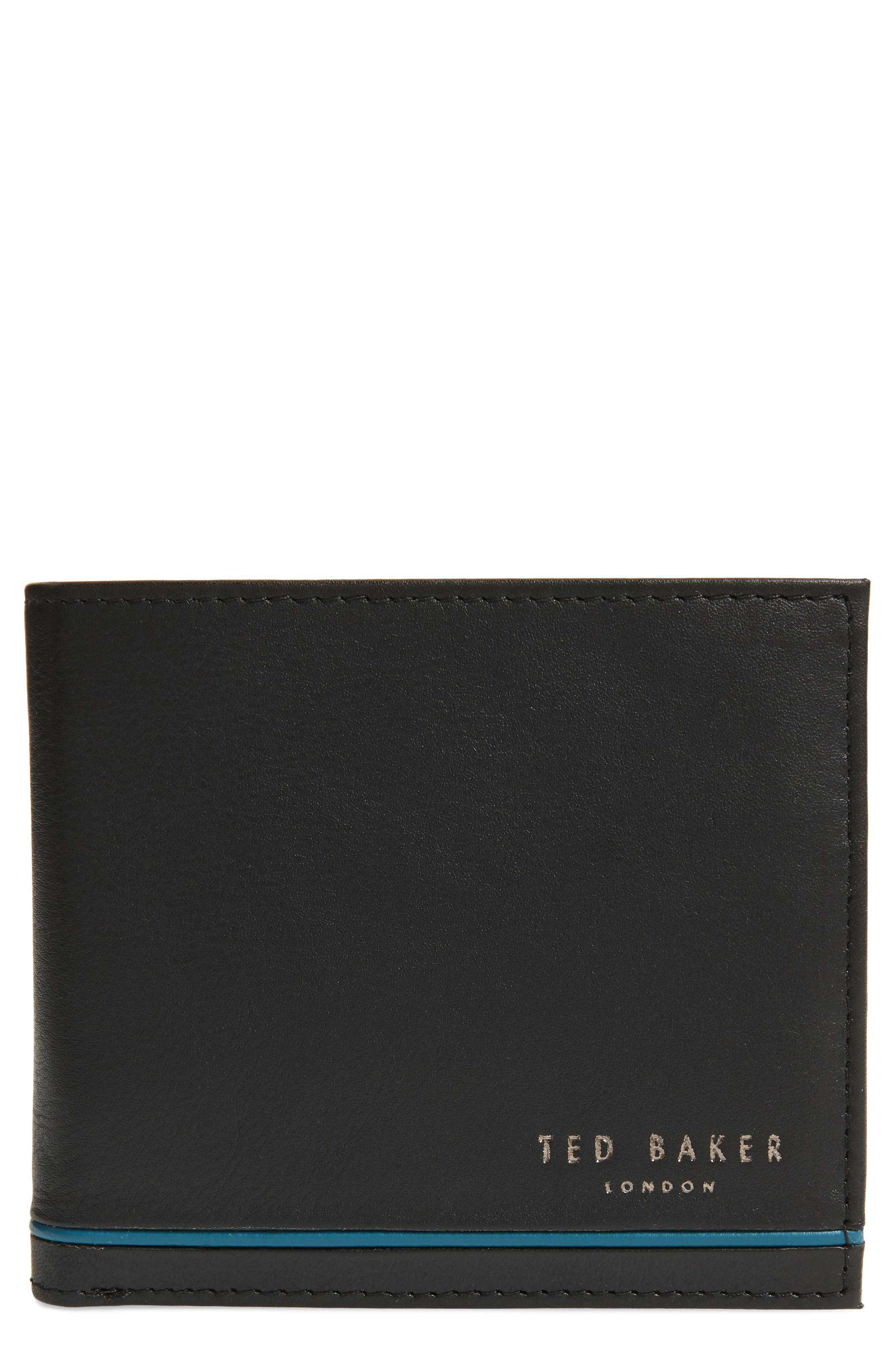 Stripe Detail Leather Bifold Wallet,                             Main thumbnail 1, color,                             BLACK