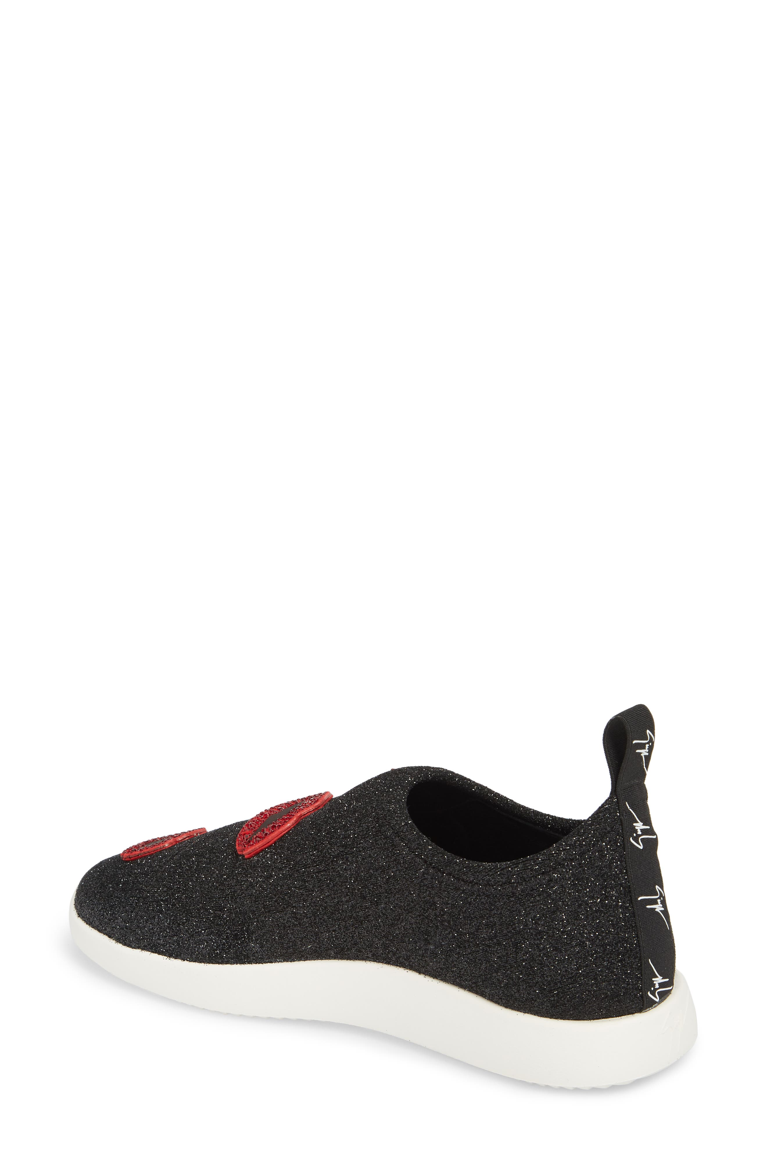 Lips Slip-On Sneaker,                             Alternate thumbnail 2, color,                             BLACK