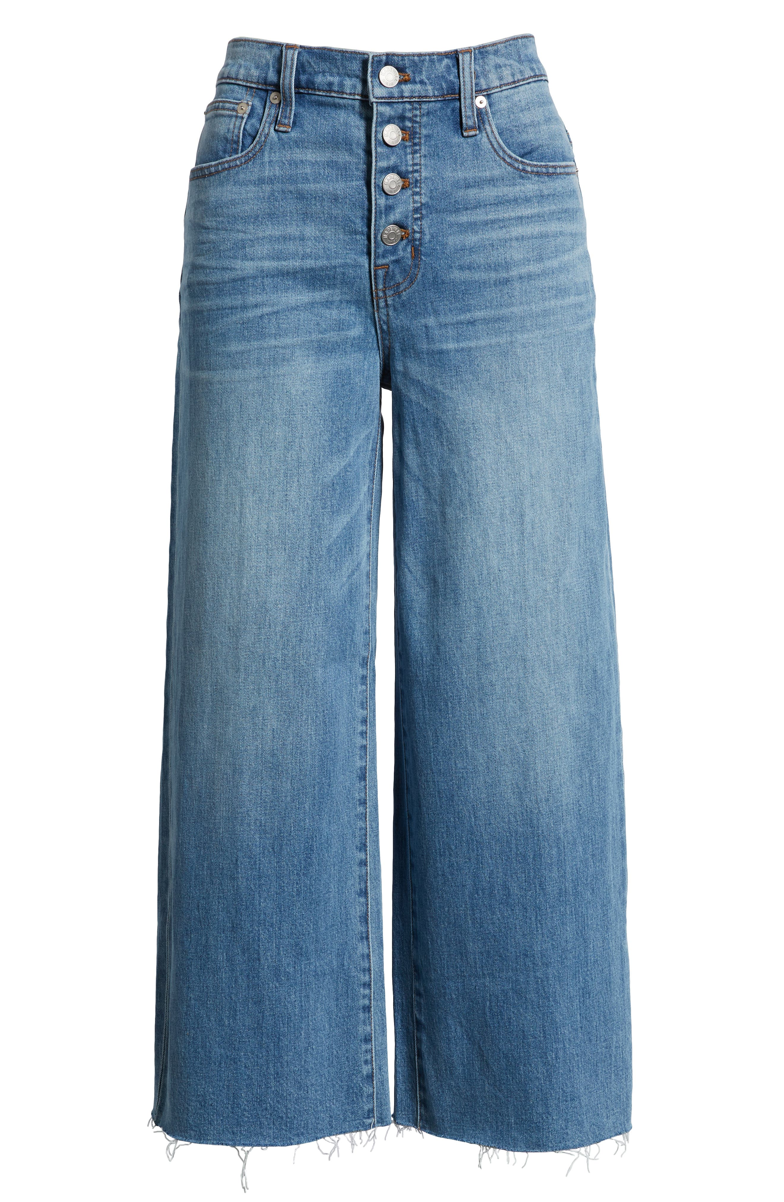 Button Front Wide Leg Crop Jeans,                             Alternate thumbnail 4, color,                             MARTINA WASH