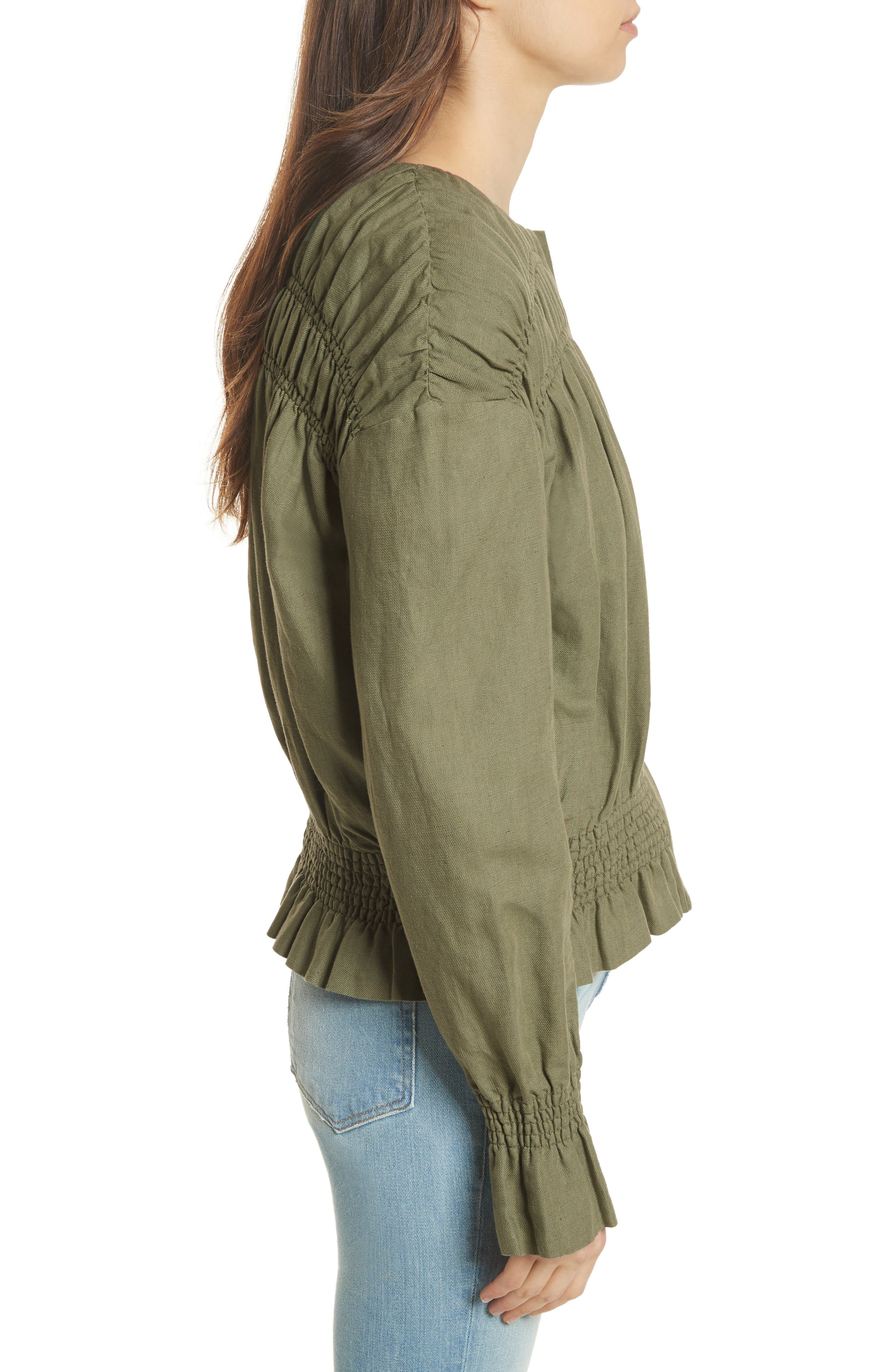Smocked Jacket,                             Alternate thumbnail 3, color,                             FADED ARMY