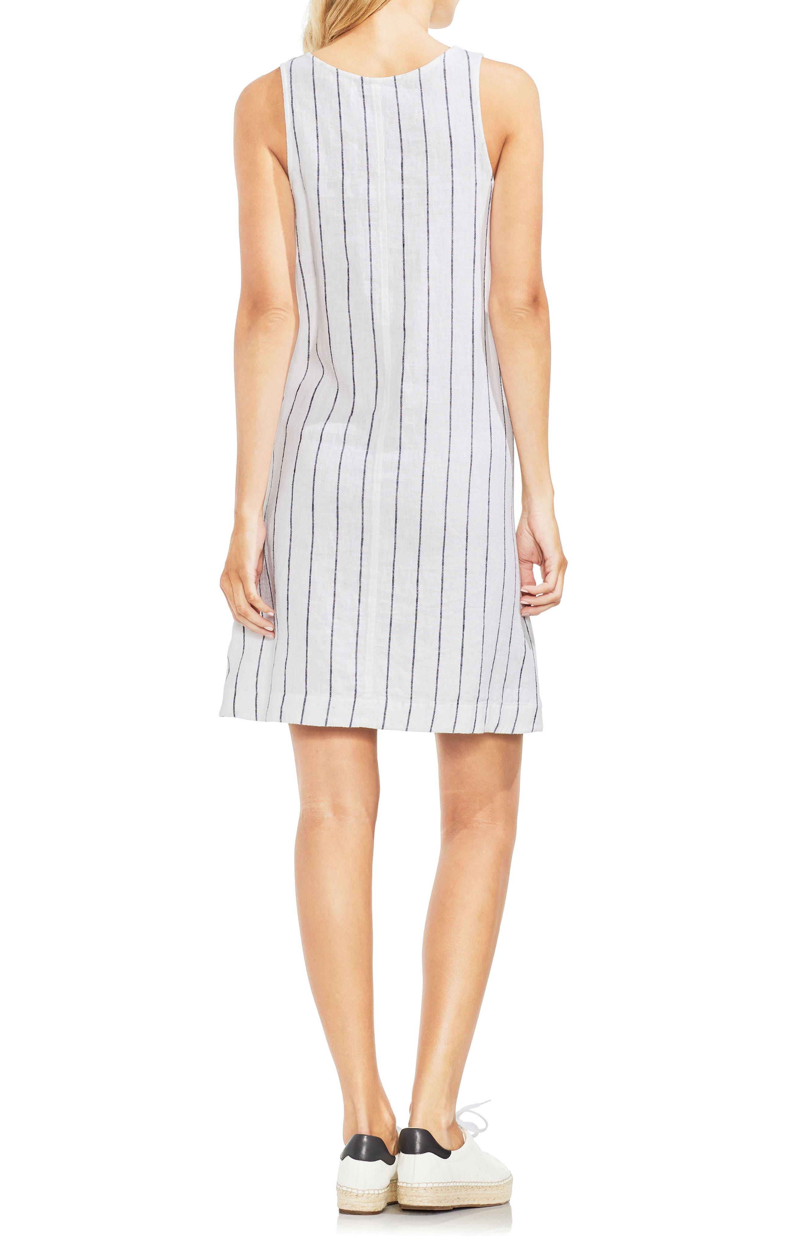 Pinstripe Sleeveless Linen Blend Dress,                             Alternate thumbnail 2, color,                             145