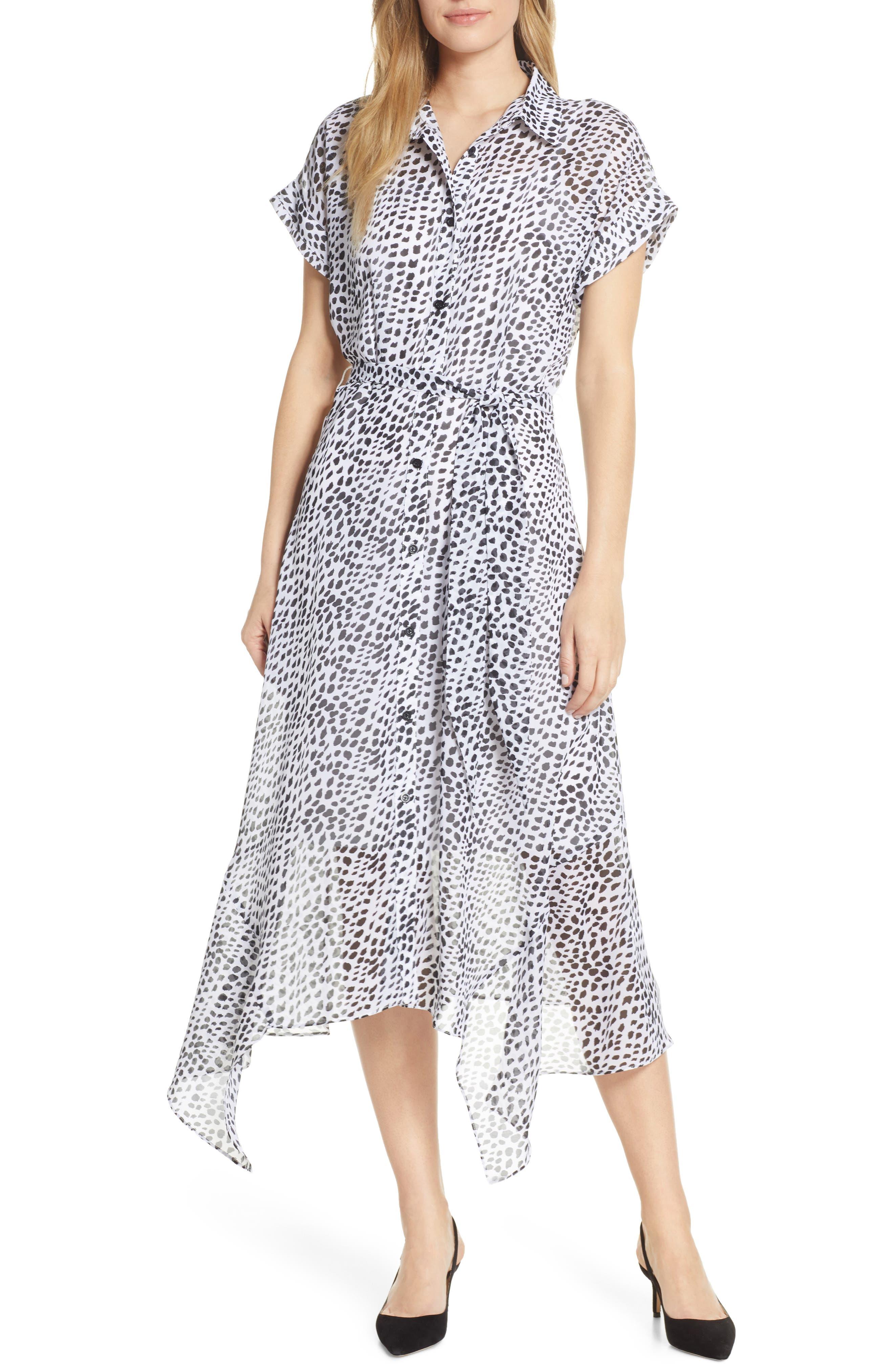 Julia Jordan Animal Print Handkerchief Hem Midi Dress, Ivory