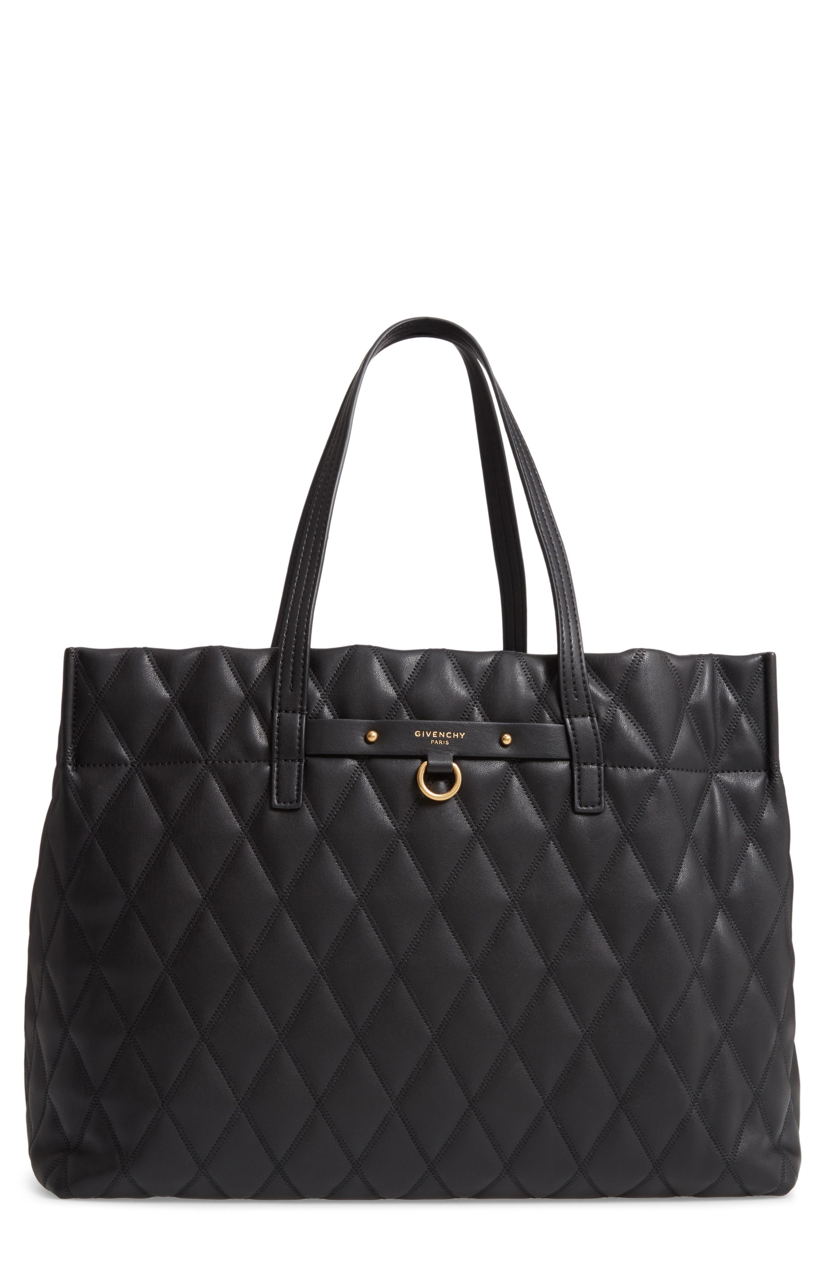 Quilted East/West Faux Leather Shopper,                         Main,                         color, BLACK