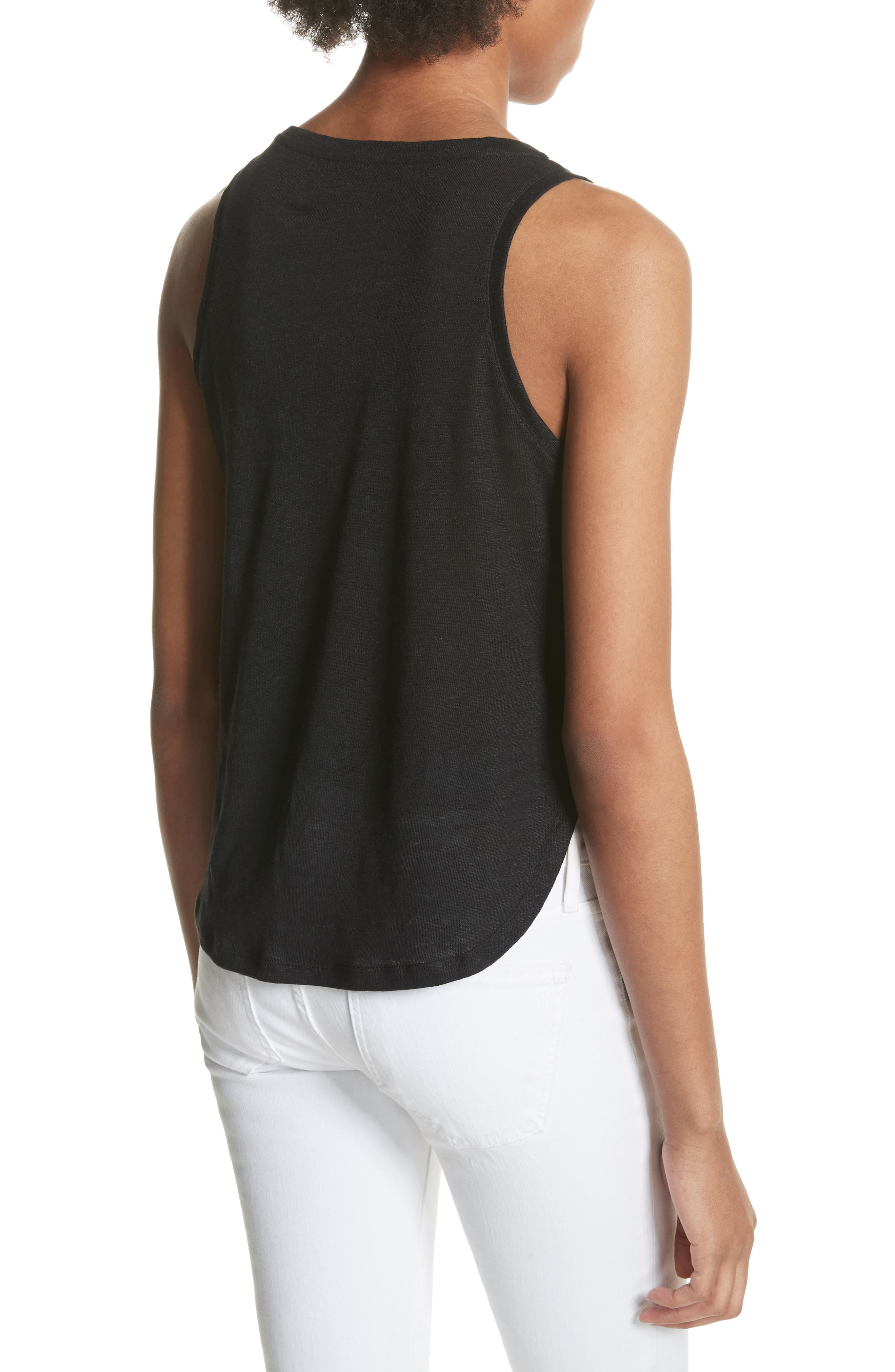 Silk & Linen Tank,                             Alternate thumbnail 2, color,                             001