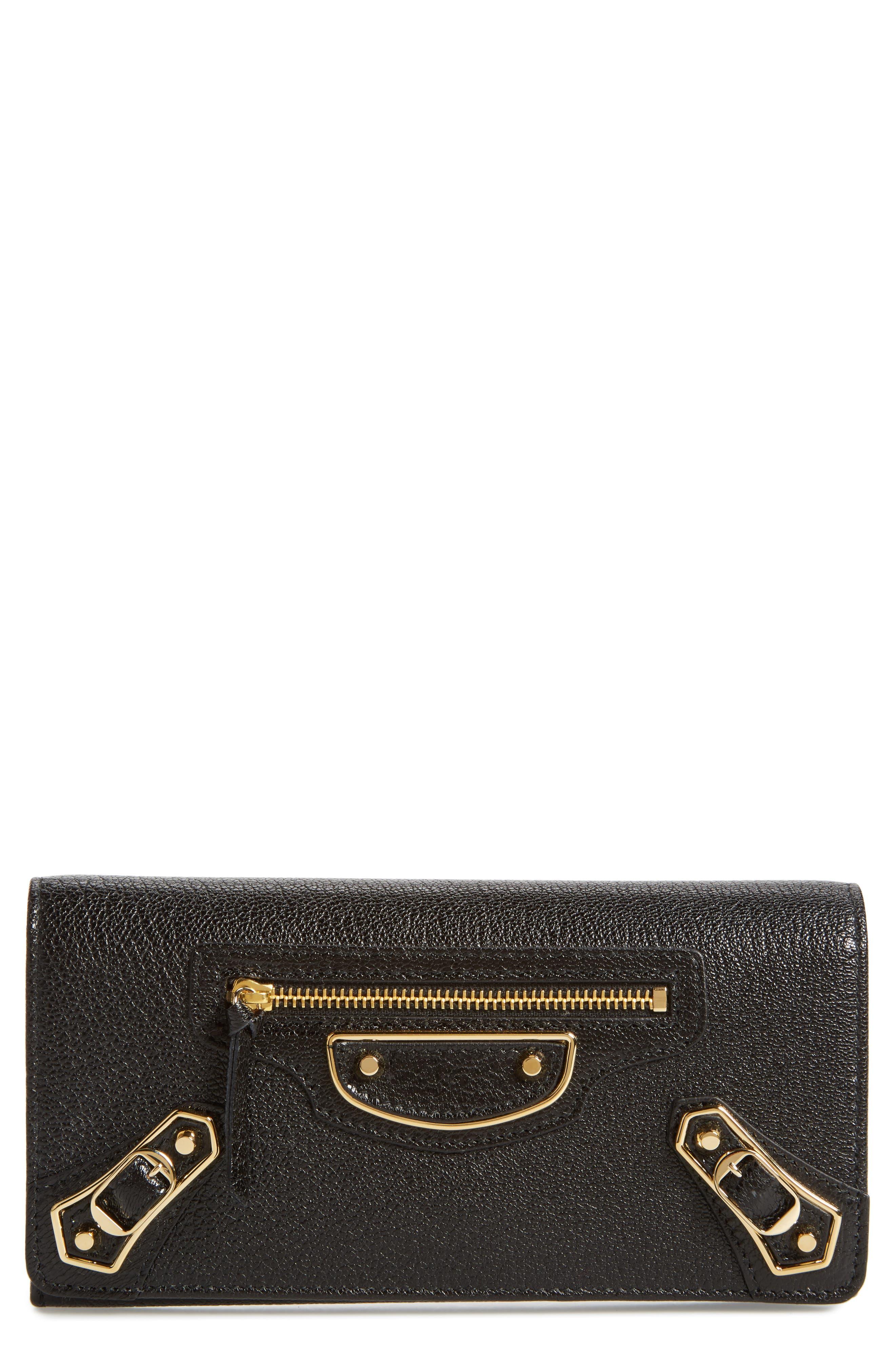 Metallic Edge Leather Wallet,                             Main thumbnail 1, color,                             NOIR