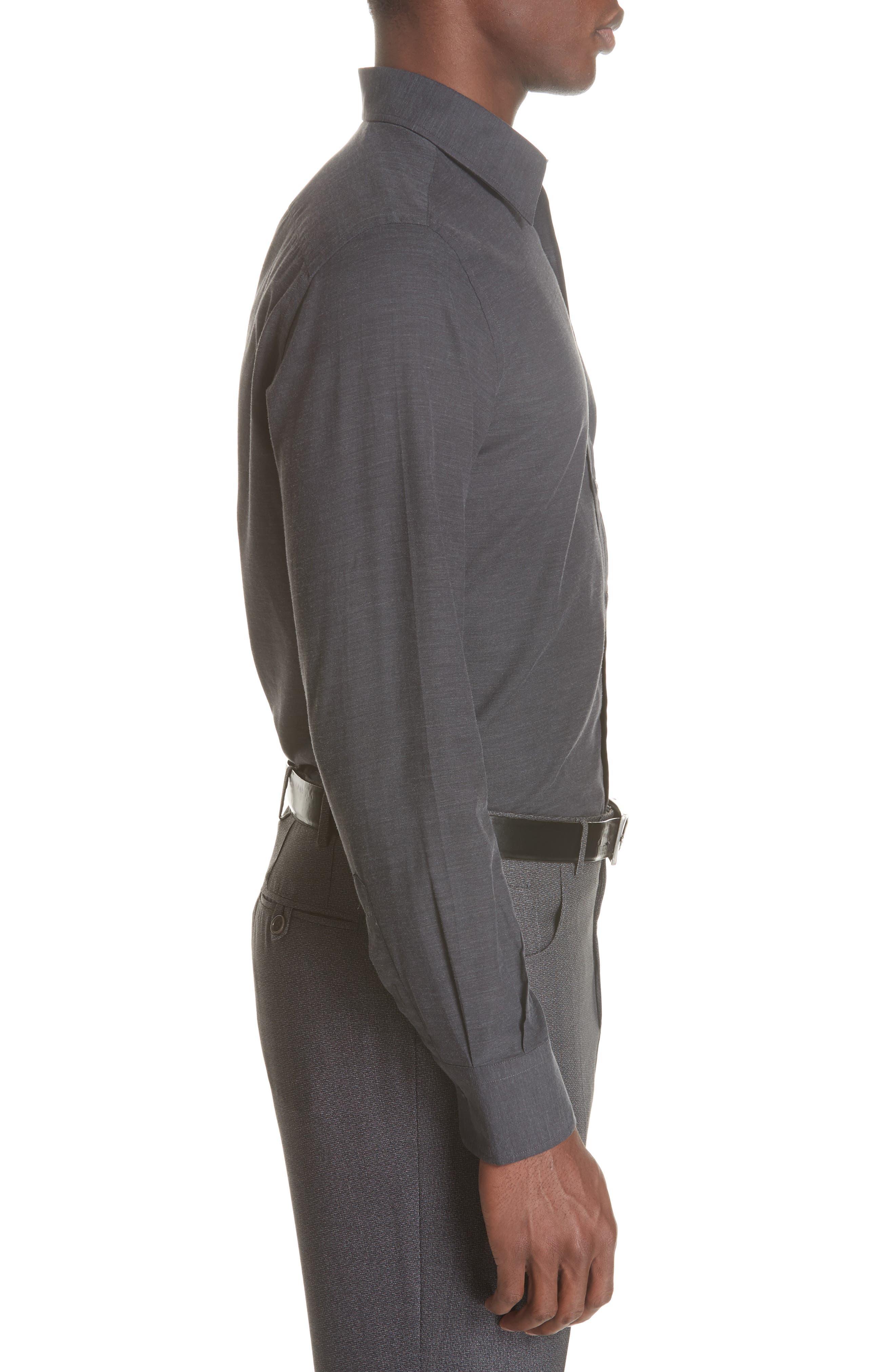 Classic Fit Herringbone Sport Shirt,                             Alternate thumbnail 4, color,                             CHARCOAL