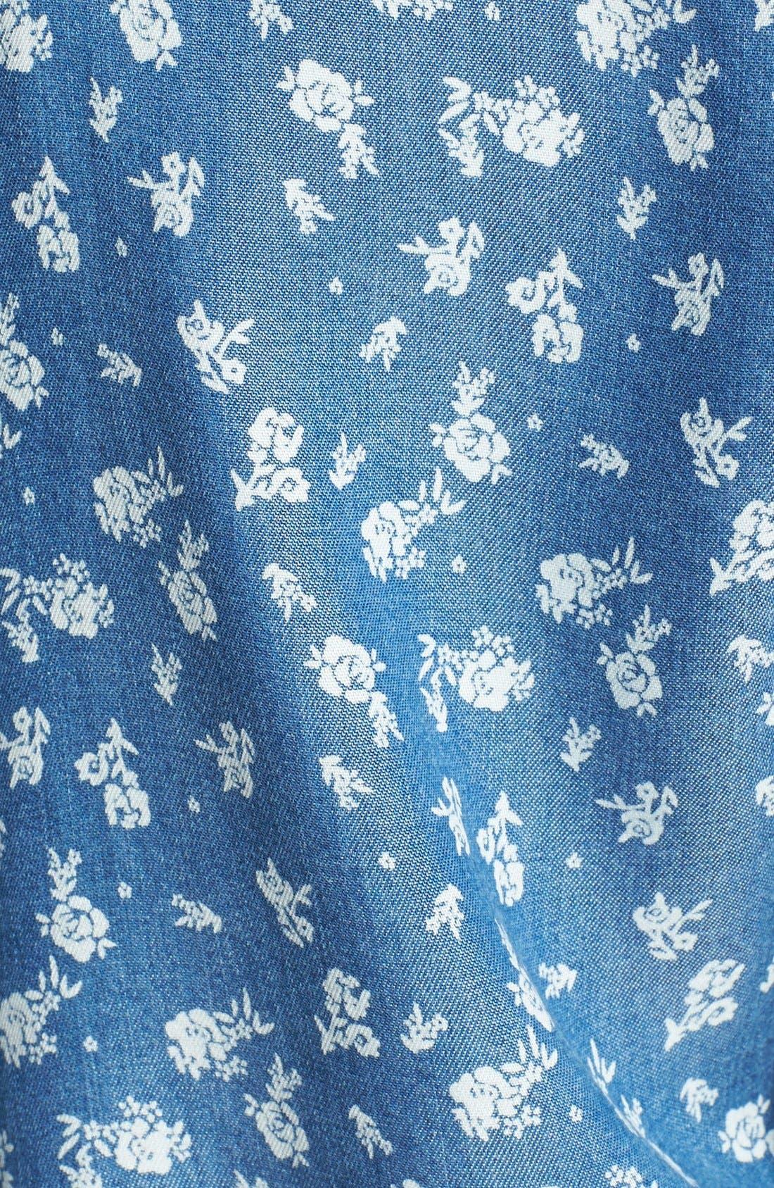 Floral Print Chambray Shirtdress,                             Alternate thumbnail 2, color,                             439