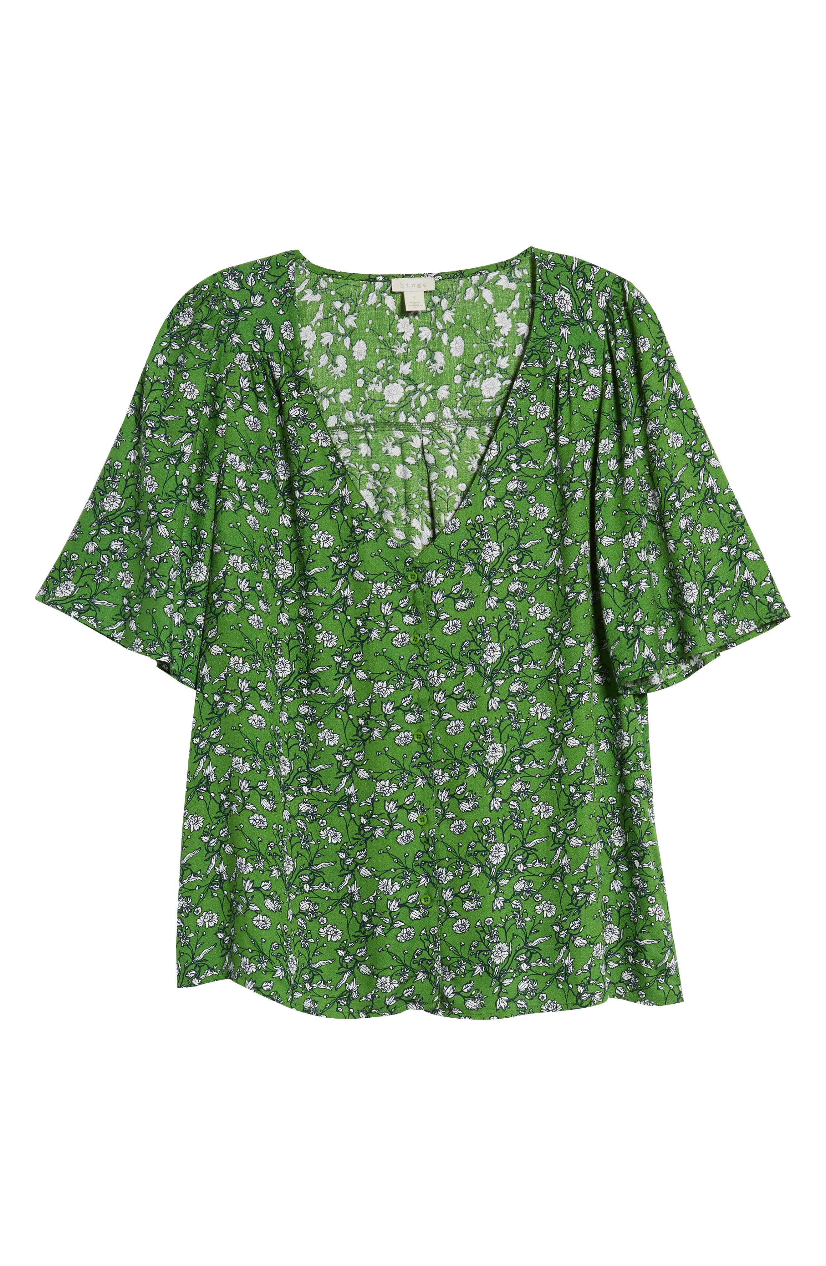 Button Front V-Neck Top,                             Alternate thumbnail 7, color,                             GREEN CANOPY FLOWER BRANCHES