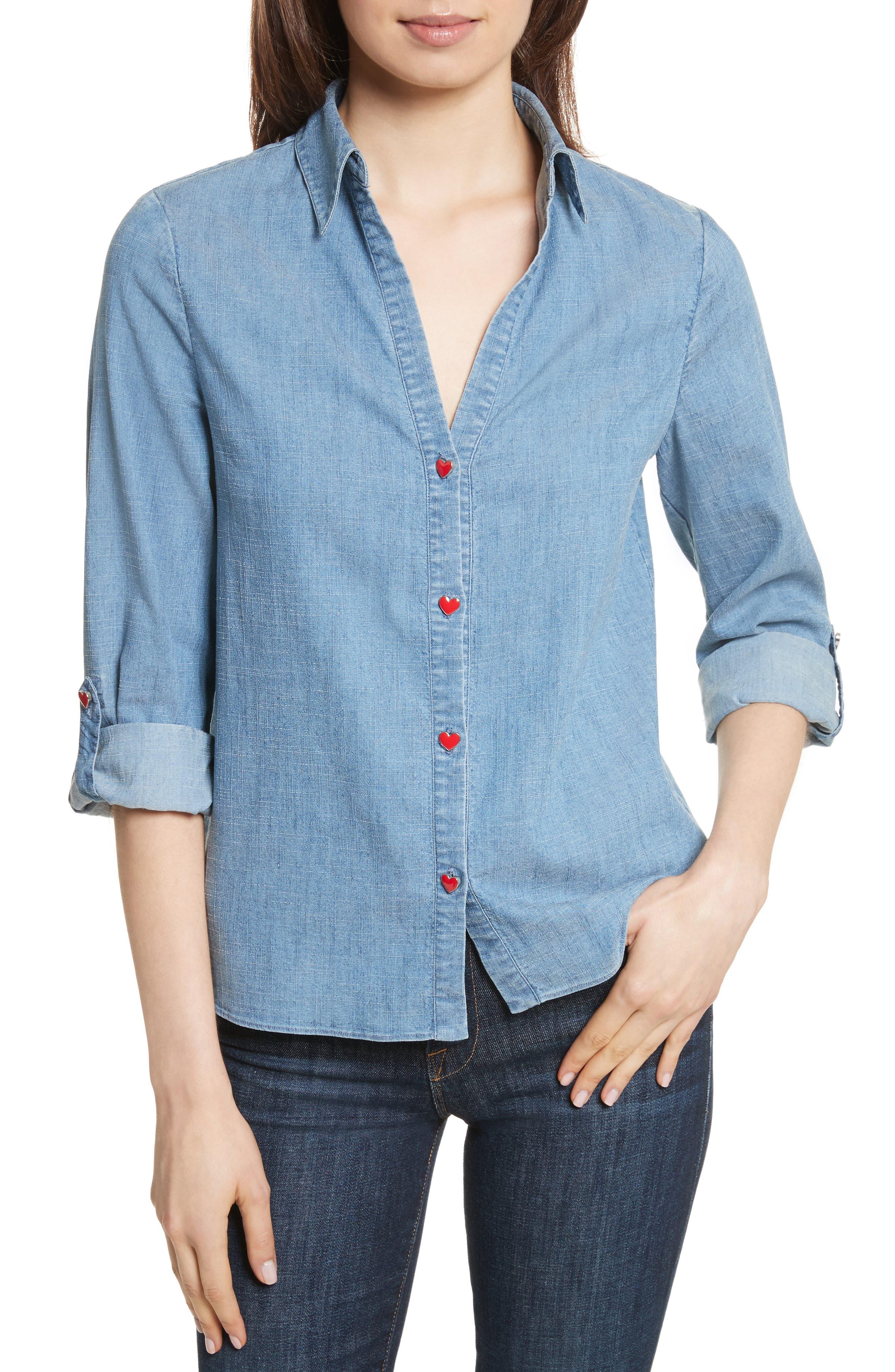 Eloise Appliqué Roll-Cuff Shirt,                         Main,                         color, 484
