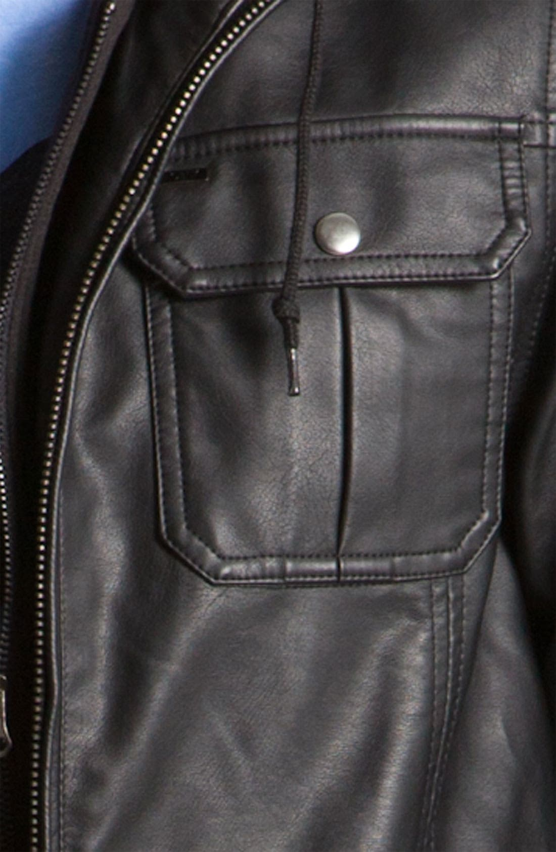 'Rapture' Trim Fit Layered Faux Leather Jacket,                             Alternate thumbnail 5, color,                             001