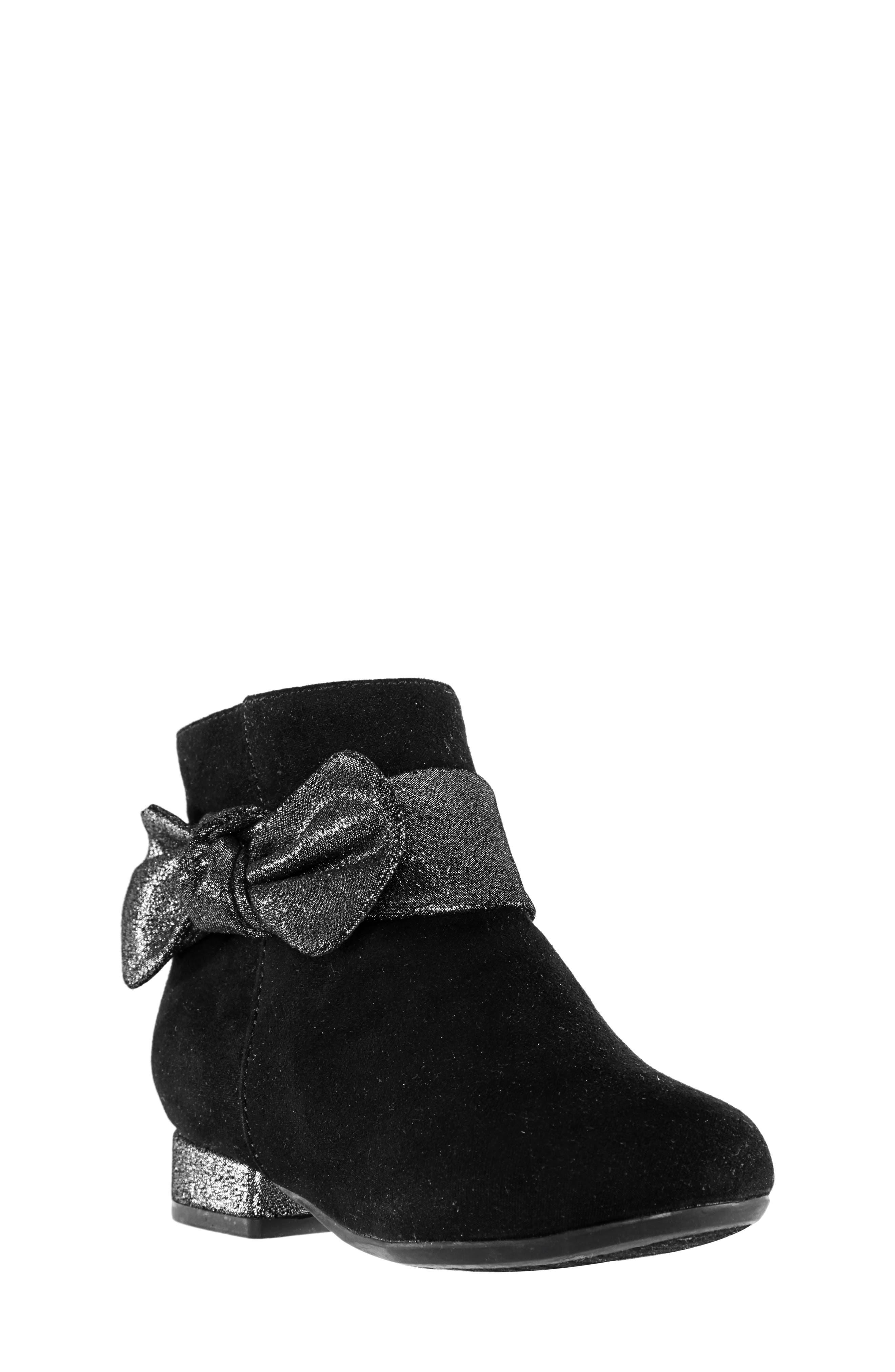 Evelin Block Heel Bootie,                             Main thumbnail 1, color,                             BLACK MICRO SUEDE