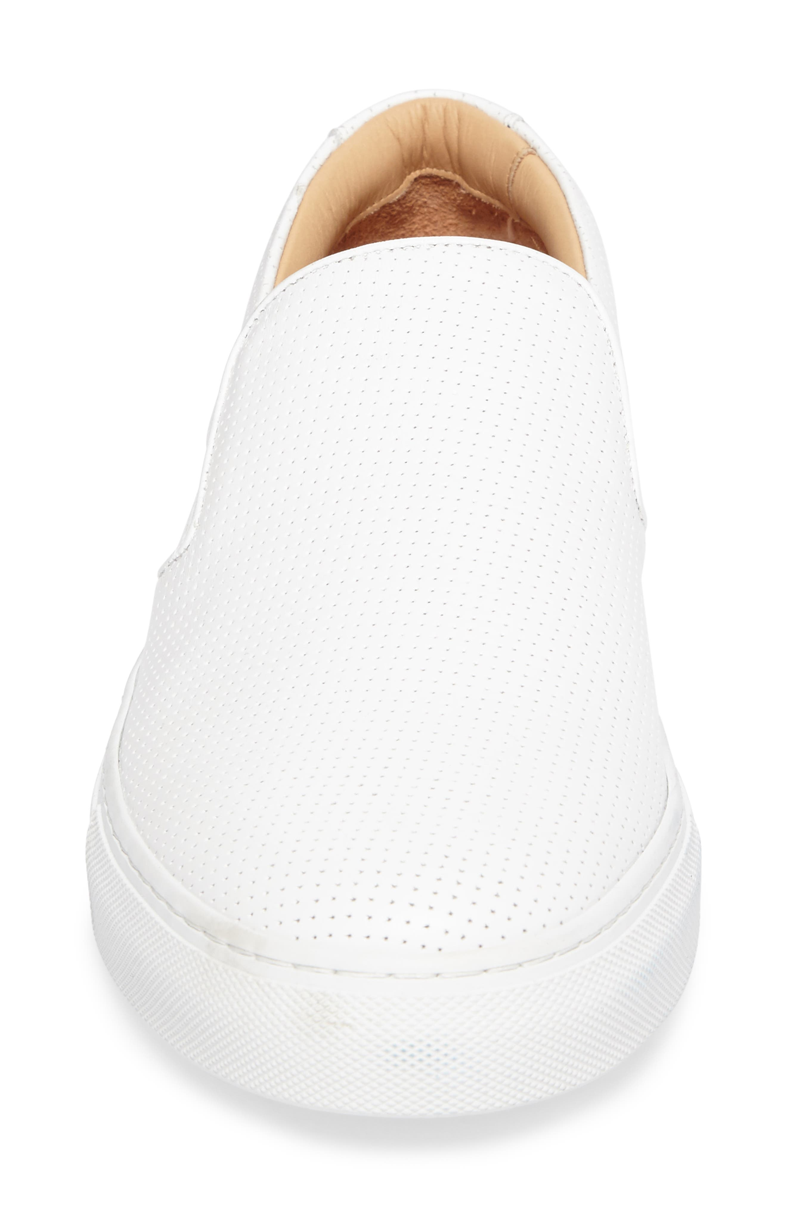 Wooster Slip-On Sneaker,                             Alternate thumbnail 4, color,                             WHITE PERFORATED LEATHER