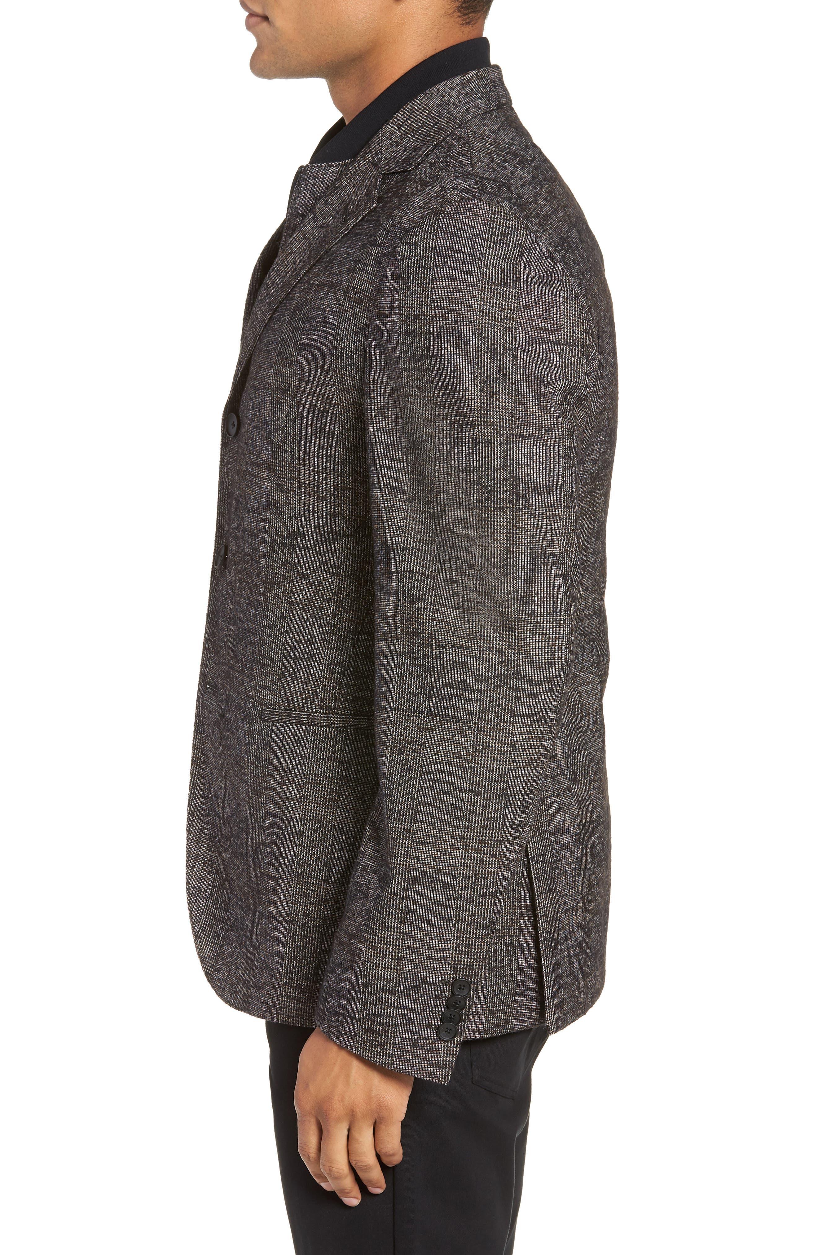 Nanon Trim Fit Plaid Wool Blend Sport Coat,                             Alternate thumbnail 3, color,                             BLACK