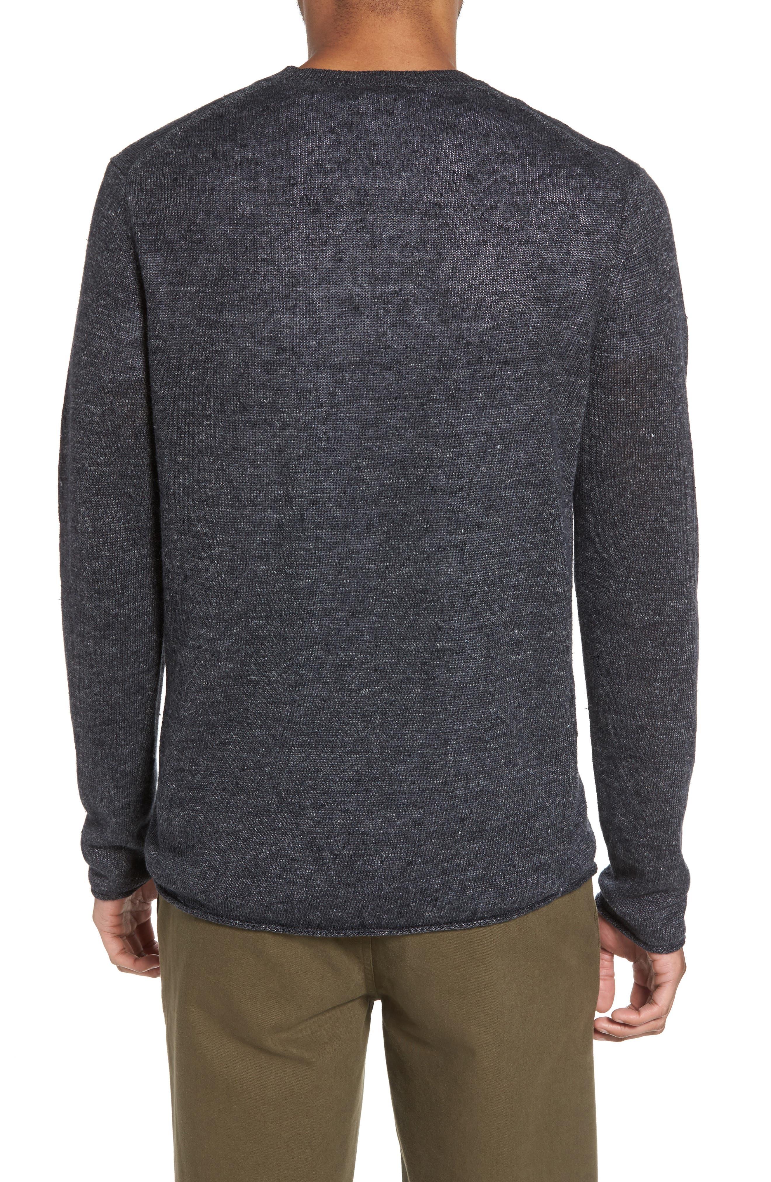 Slim Fit Linen Crewneck Sweater,                             Alternate thumbnail 2, color,                             001