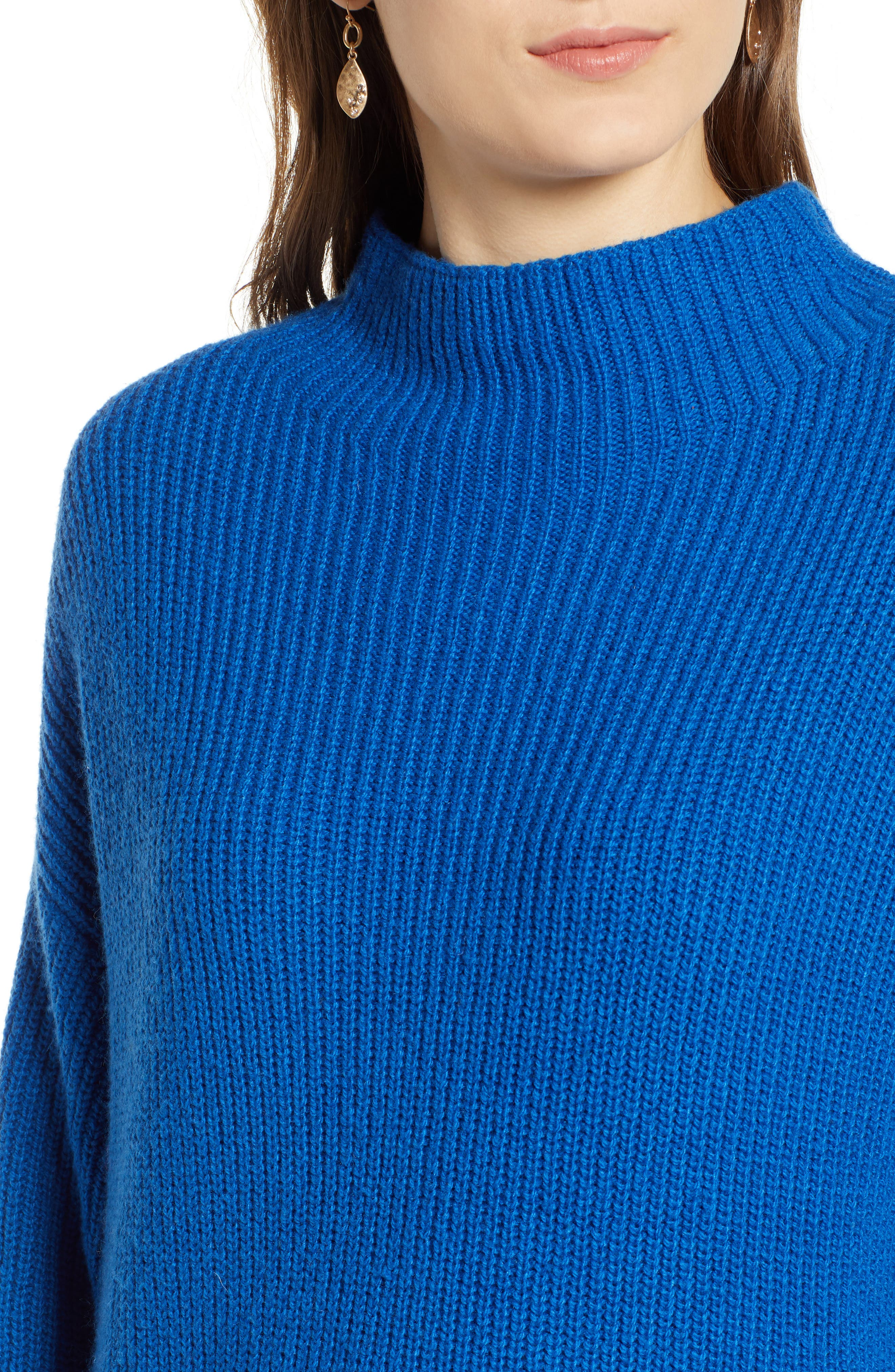 Ribbed Funnel Neck Sweater,                             Alternate thumbnail 4, color,                             BLUE CLASSICS