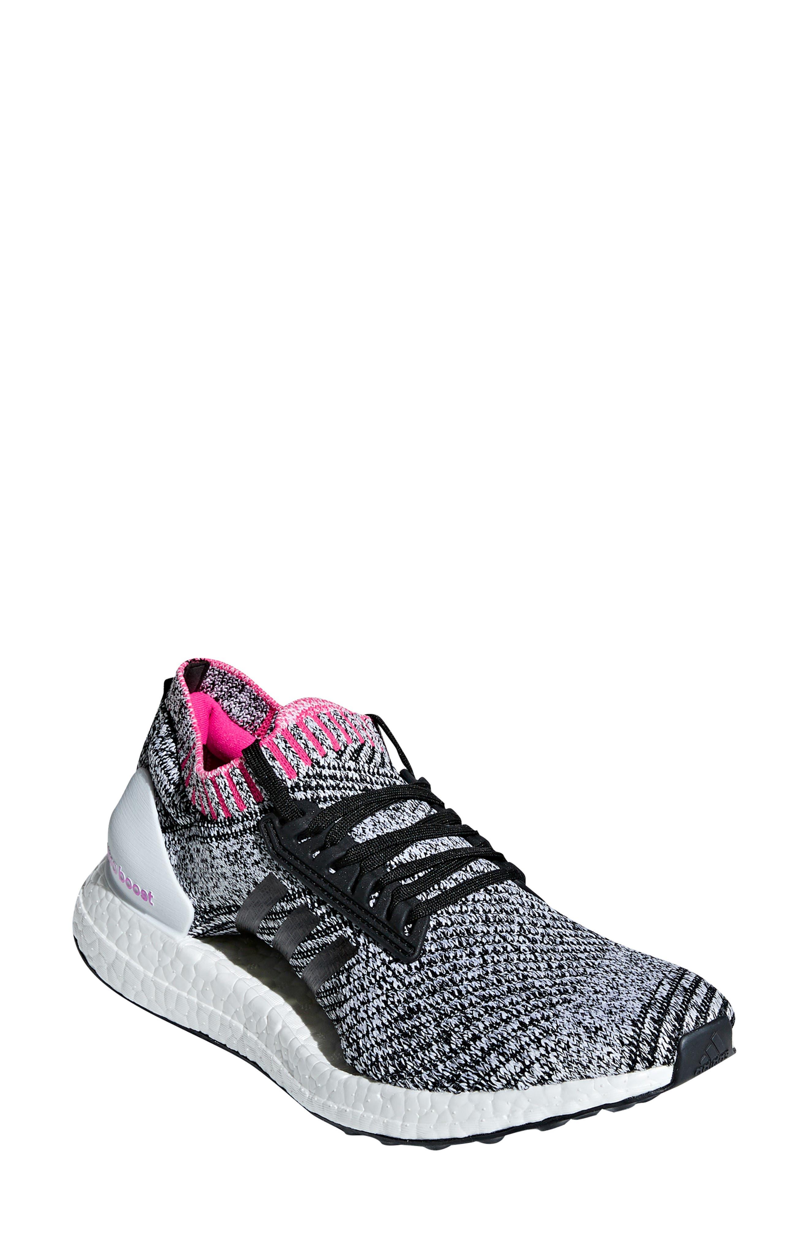 UltraBoost X Running Shoe,                             Main thumbnail 1, color,                             WHITE/ BLACK/ SHOCK PINK