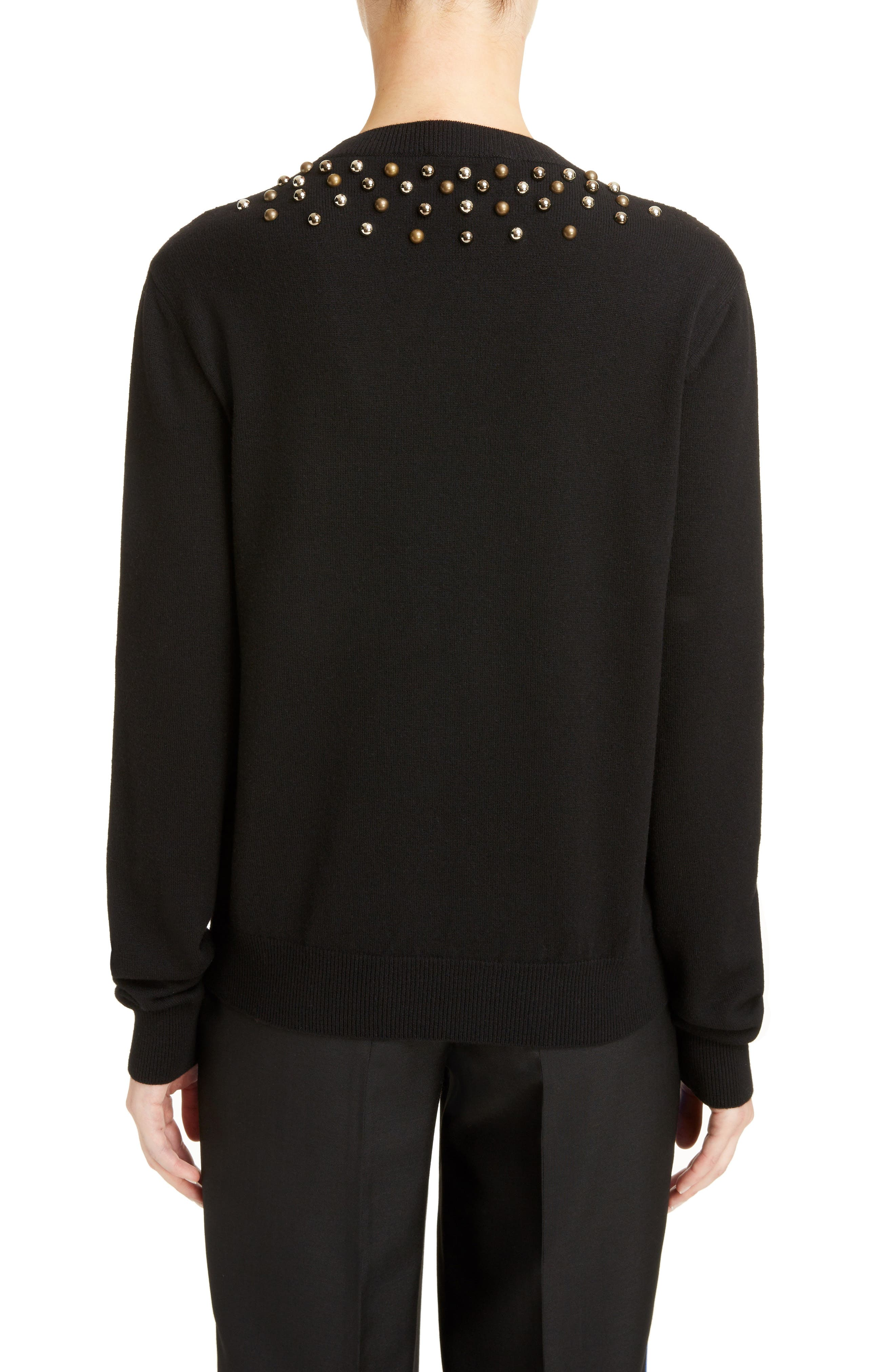 Studded Wool & Cashmere Sweater,                             Alternate thumbnail 2, color,                             BLACK