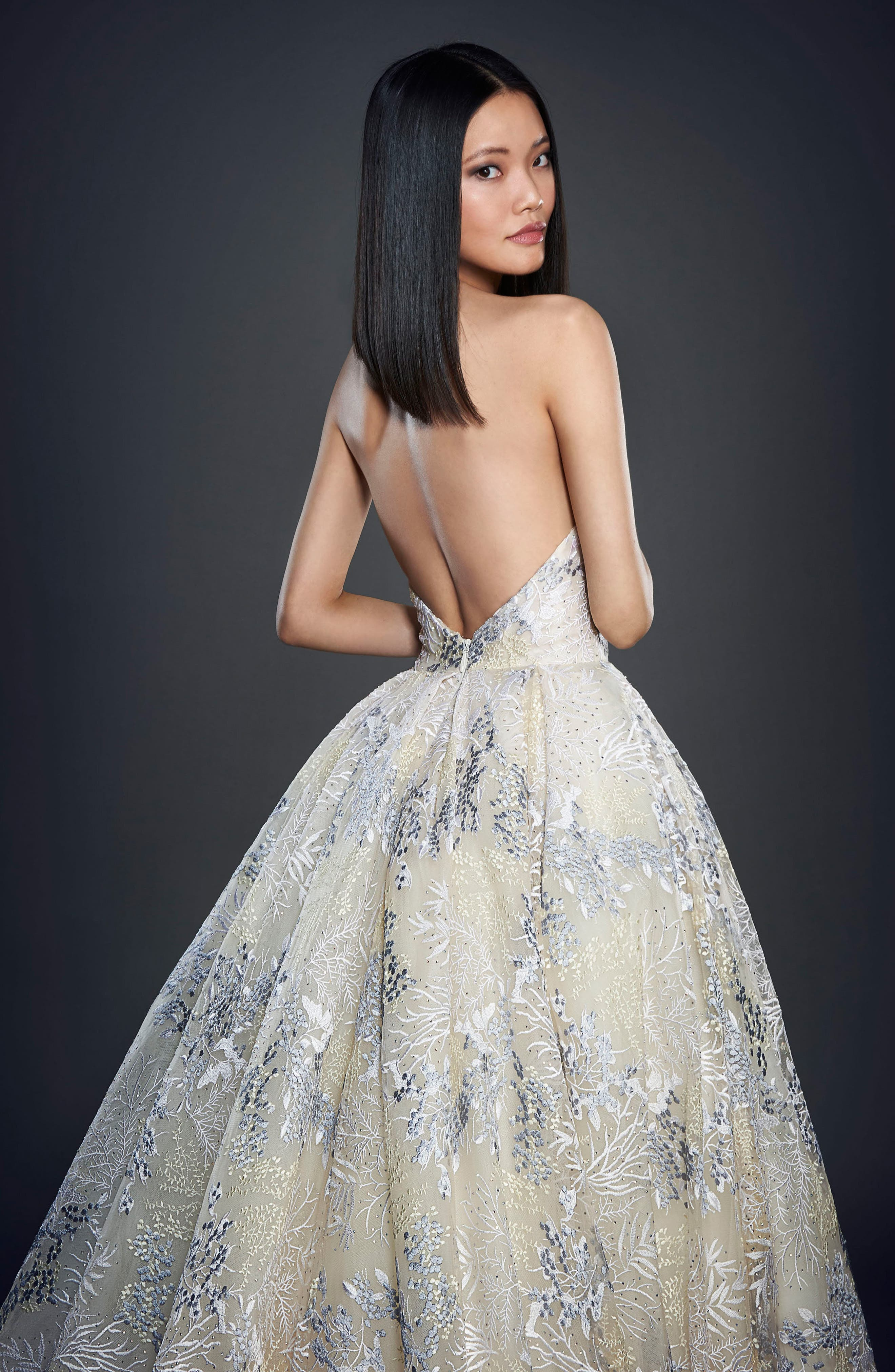 Embellished Strapless Ballgown,                             Alternate thumbnail 2, color,                             IVORY/ WISTERIA