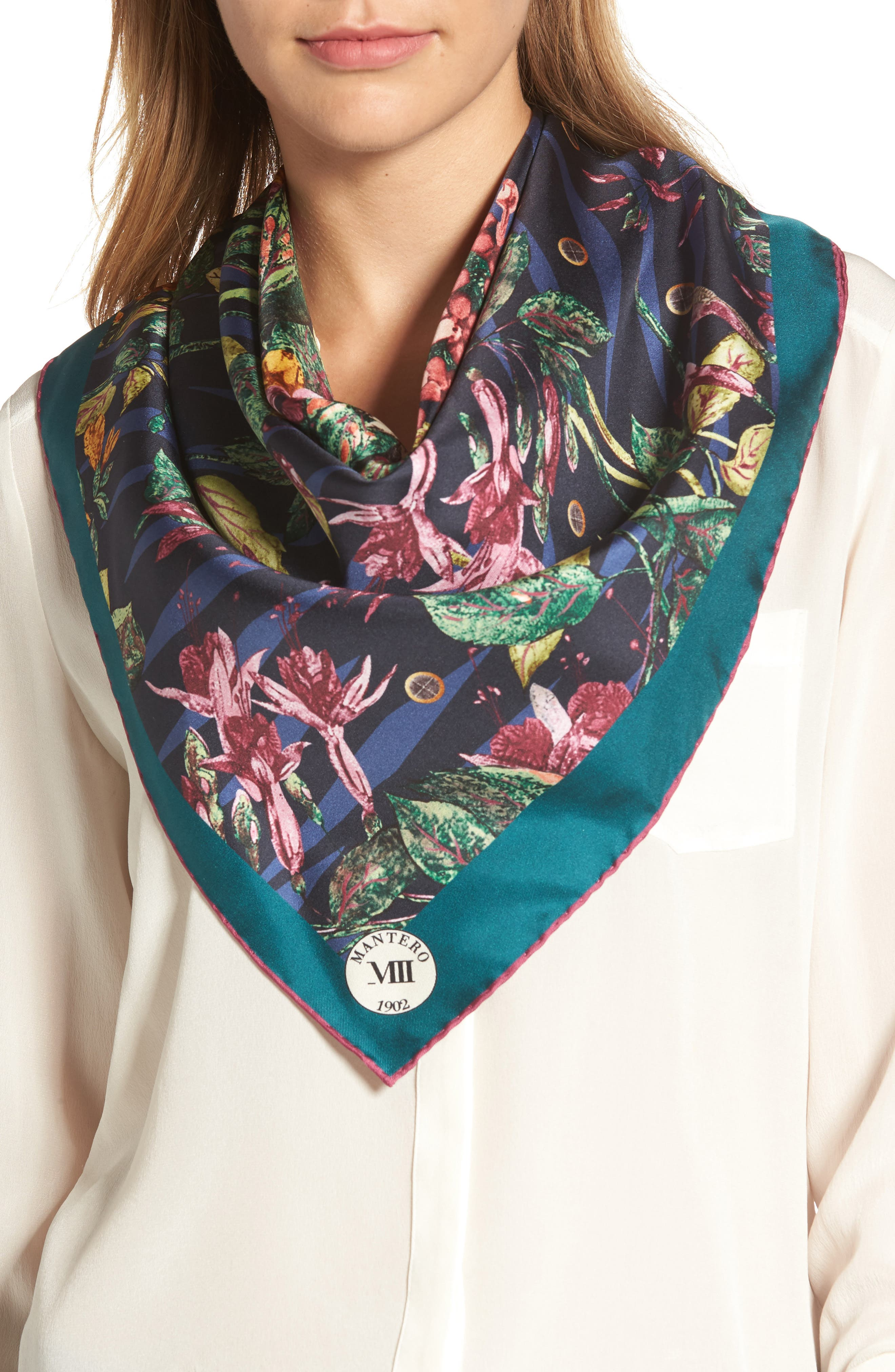 Tra le Righe Square Silk Scarf,                             Alternate thumbnail 3, color,